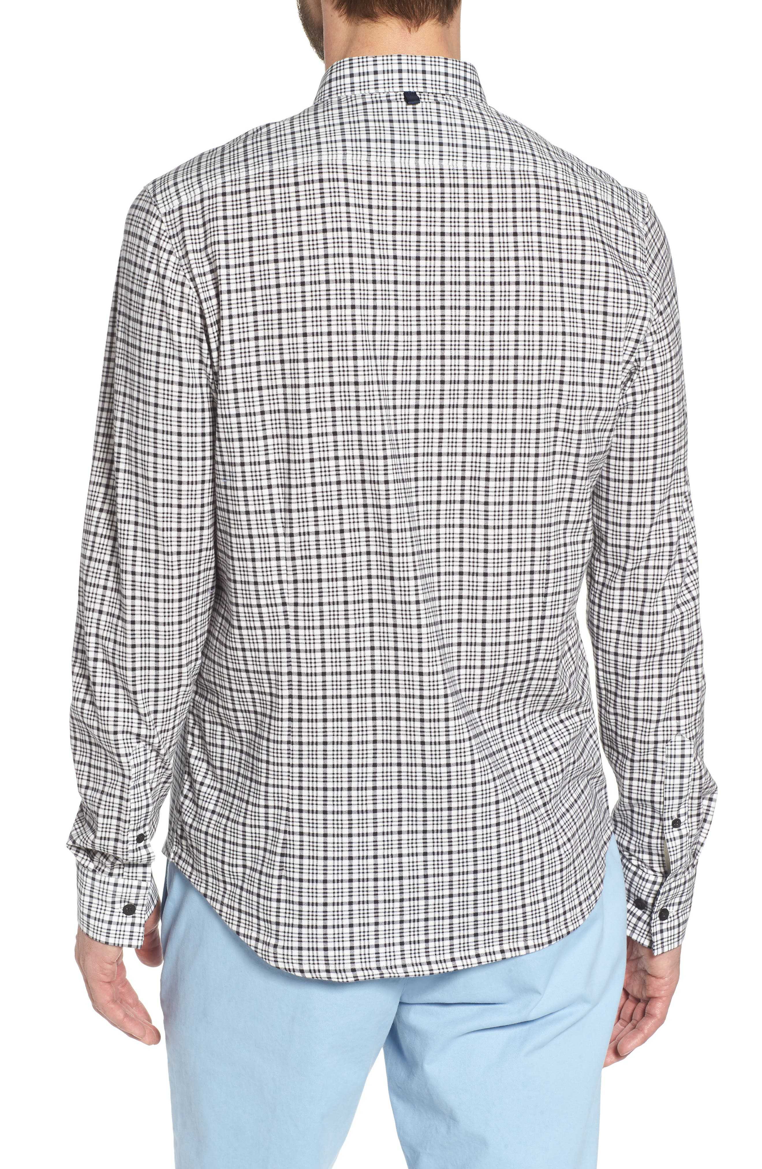Check Slim Fit Sport Shirt,                             Alternate thumbnail 2, color,                             White/ Black