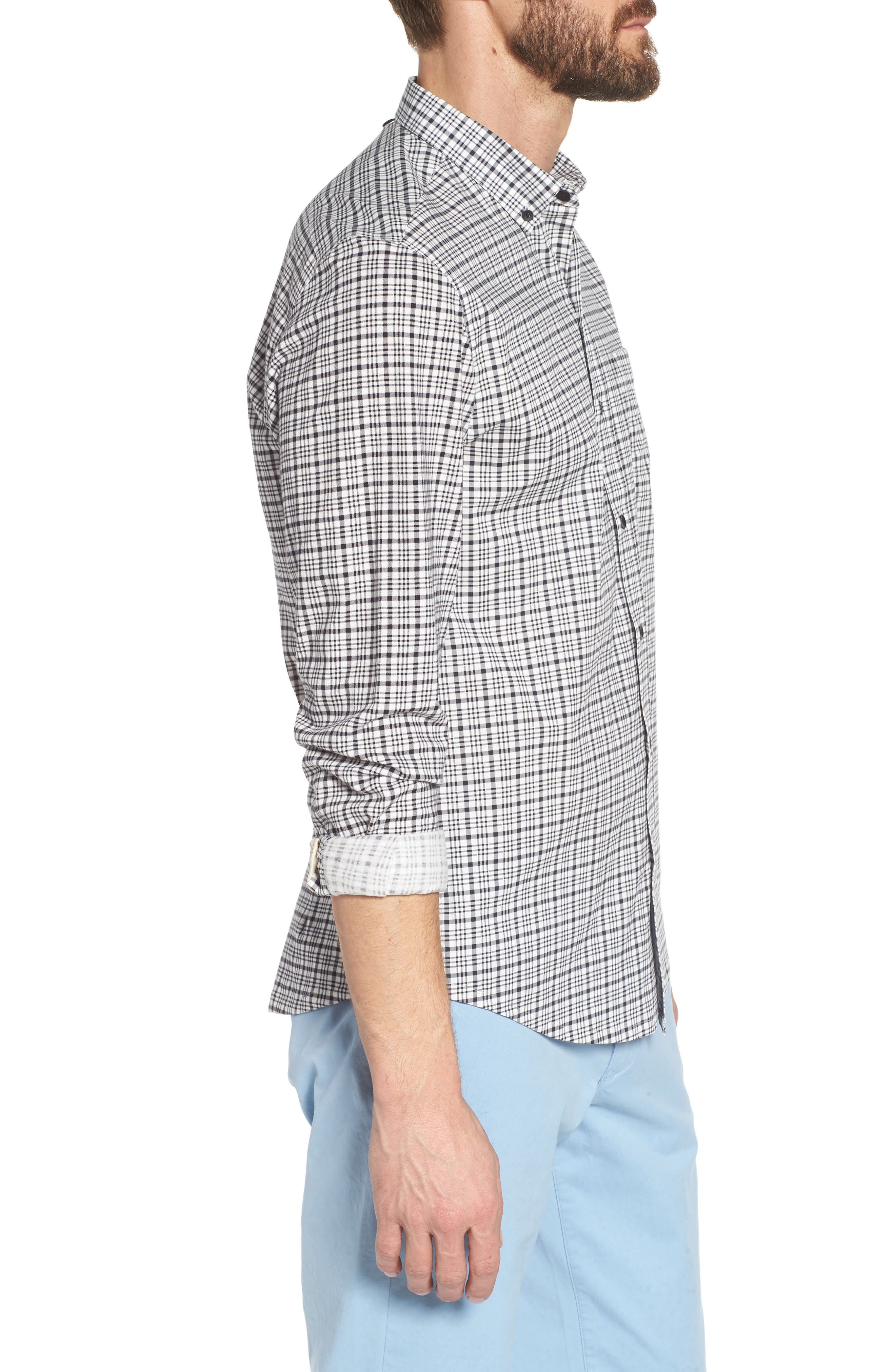 Check Slim Fit Sport Shirt,                             Alternate thumbnail 3, color,                             White/ Black