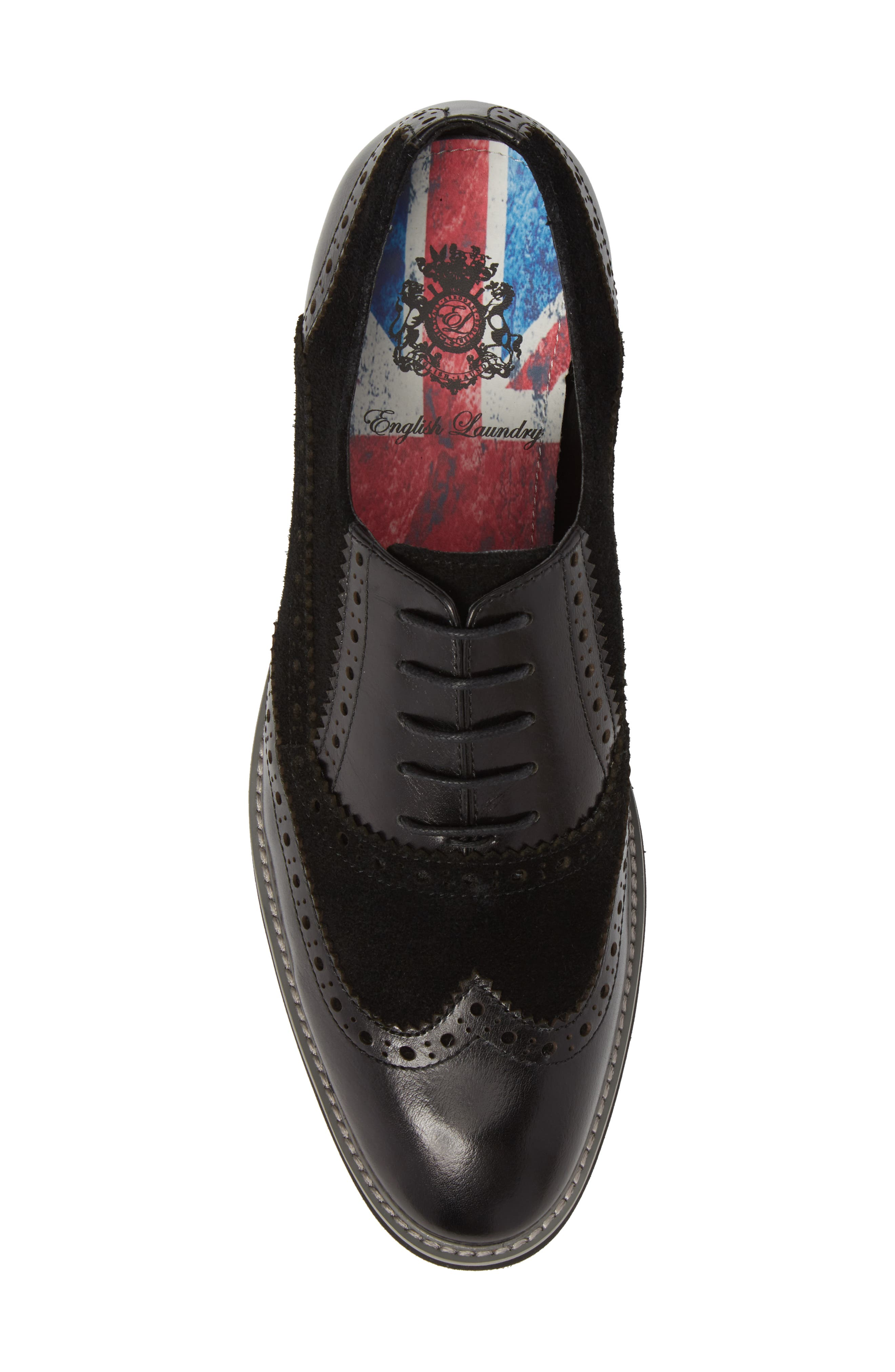 Chorley Wingtip Oxford,                             Alternate thumbnail 5, color,                             Black Leather/ Suede