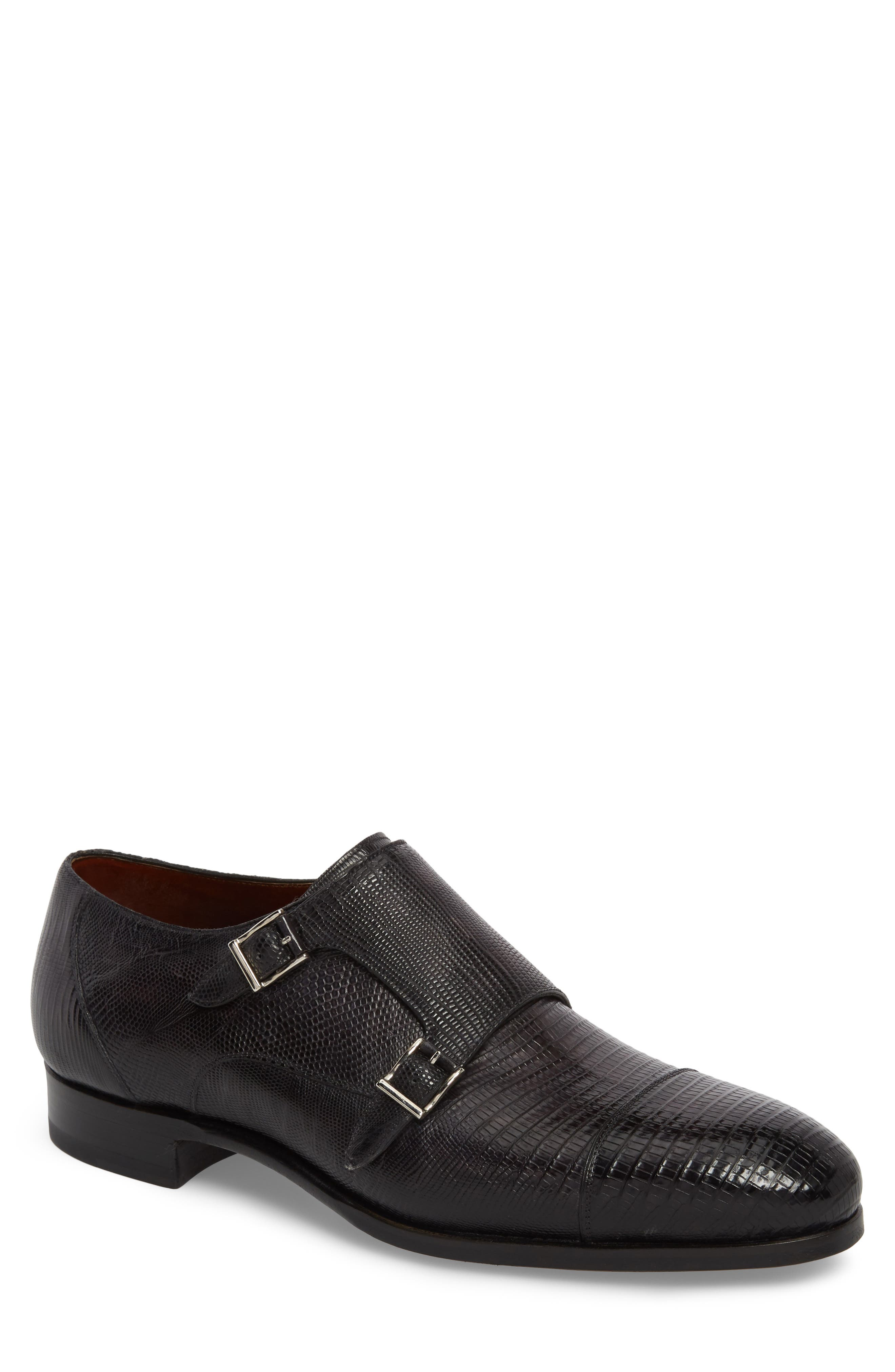 Pavo Lizard Leather Monk Shoe,                         Main,                         color, Grey Leather