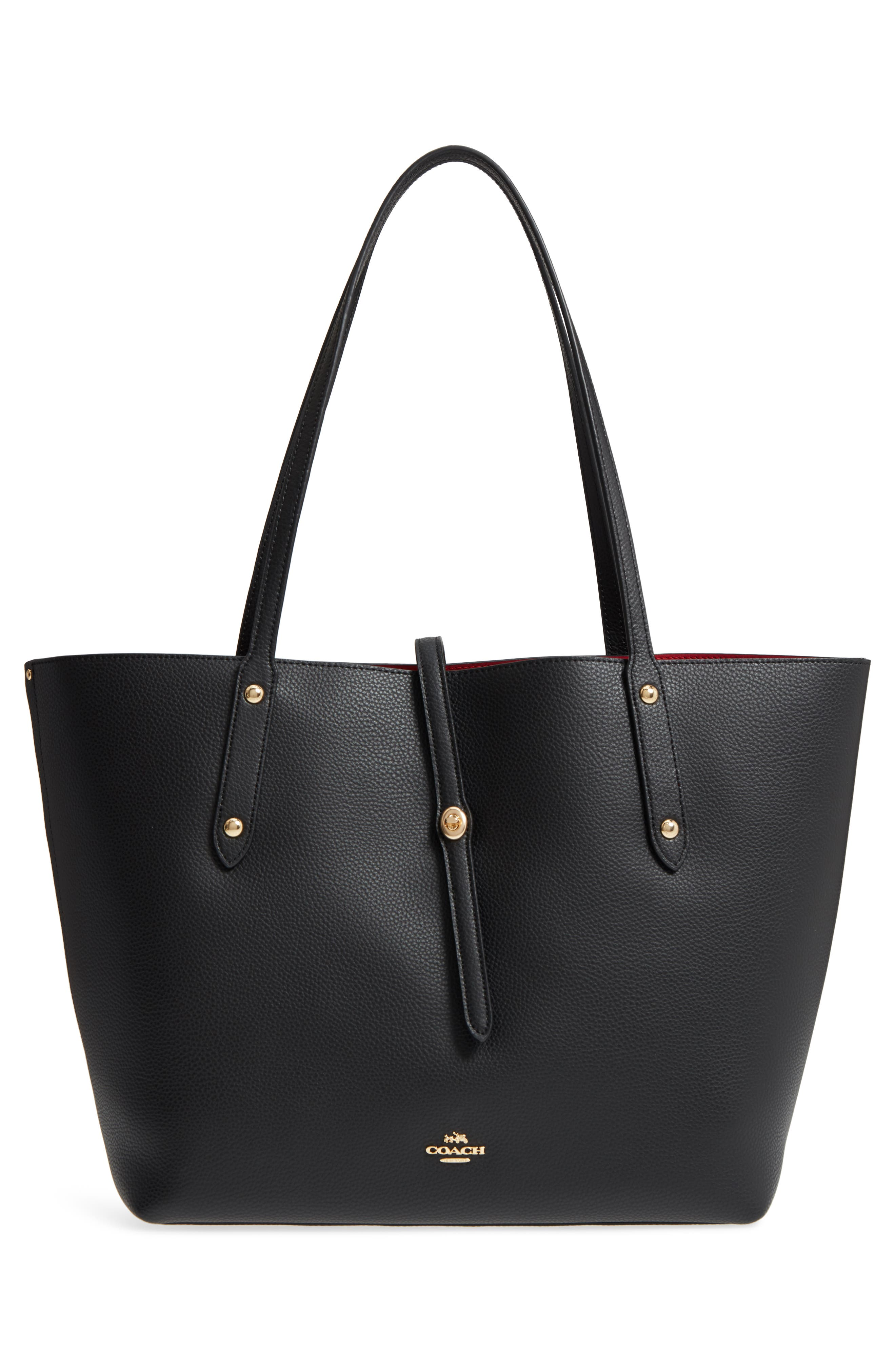 Market Pebbled Leather Tote,                             Alternate thumbnail 3, color,                             Black / True Red