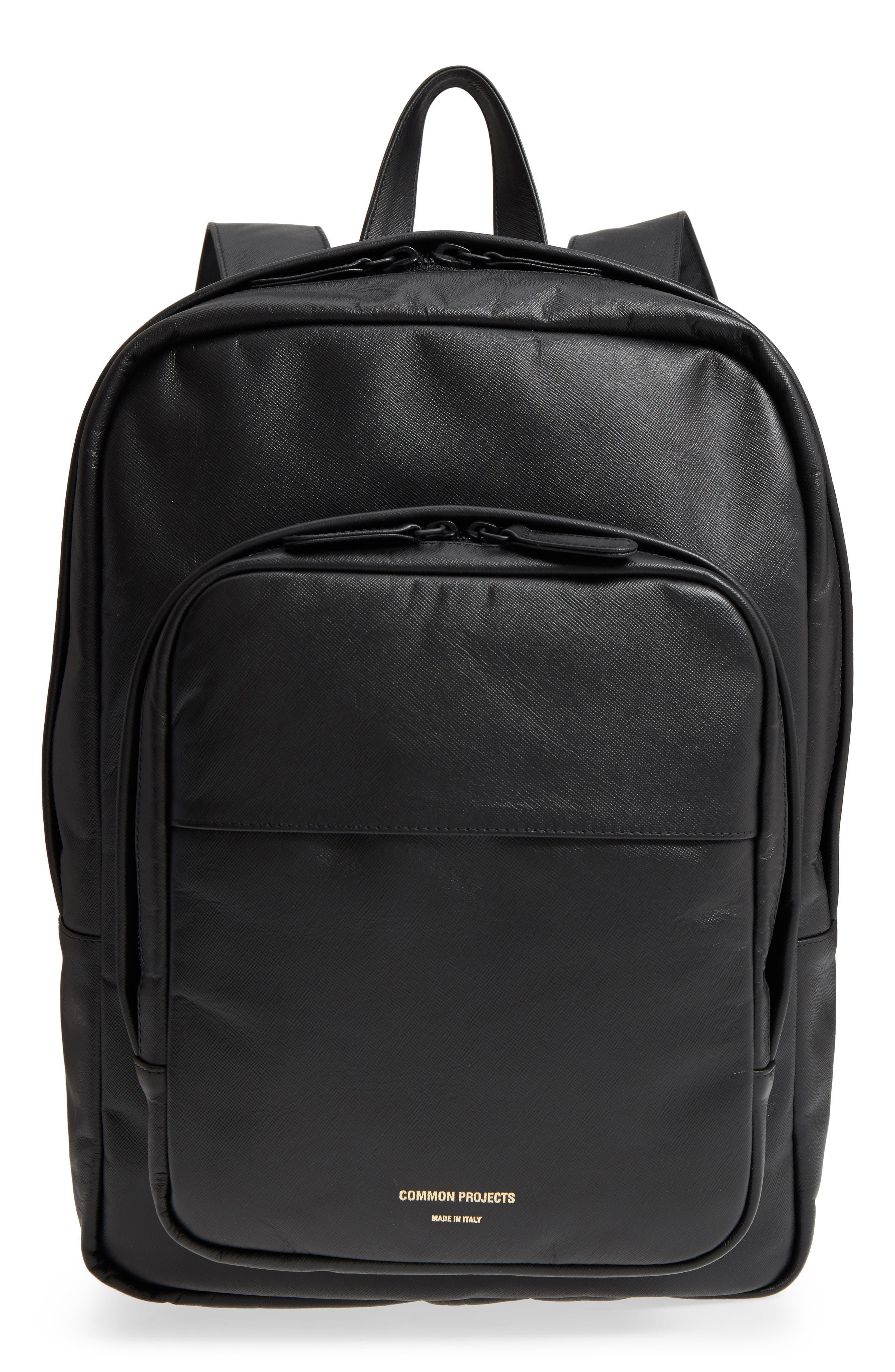 Saffiano Leather Backpack,                         Main,                         color, Black