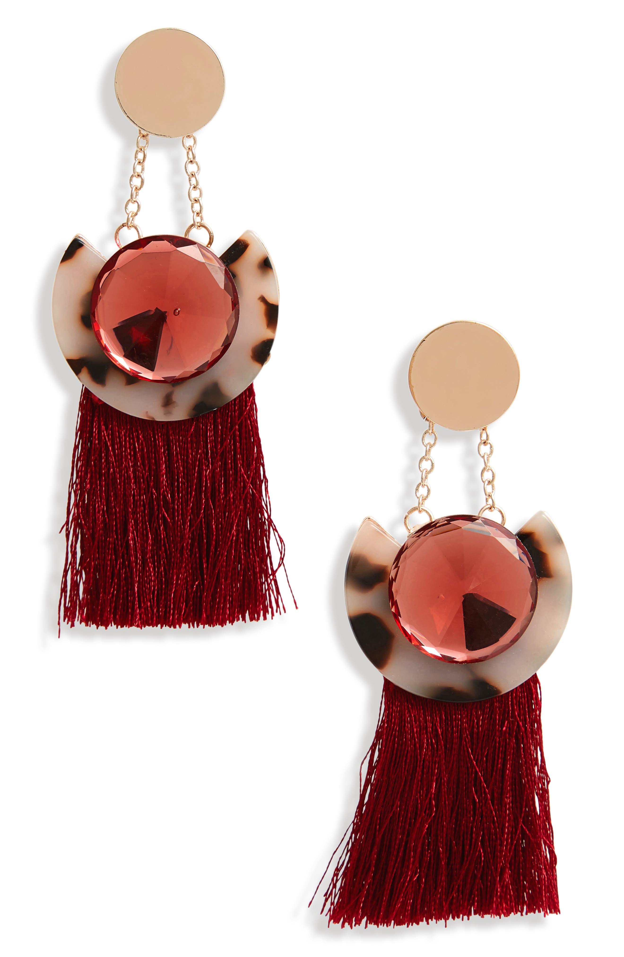 Disc Tassel Earrings,                             Main thumbnail 1, color,                             Burgundy