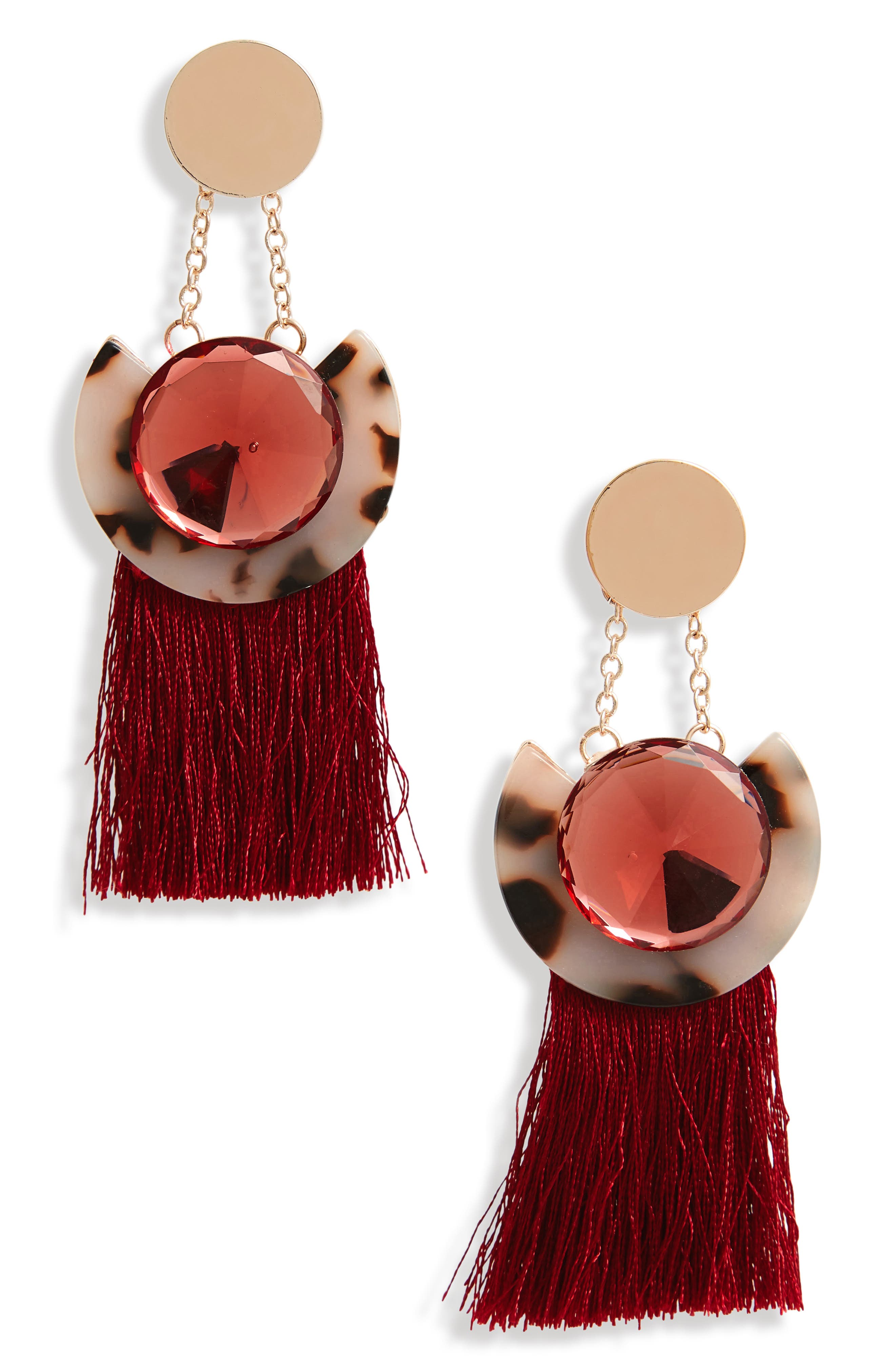 Disc Tassel Earrings,                         Main,                         color, Burgundy