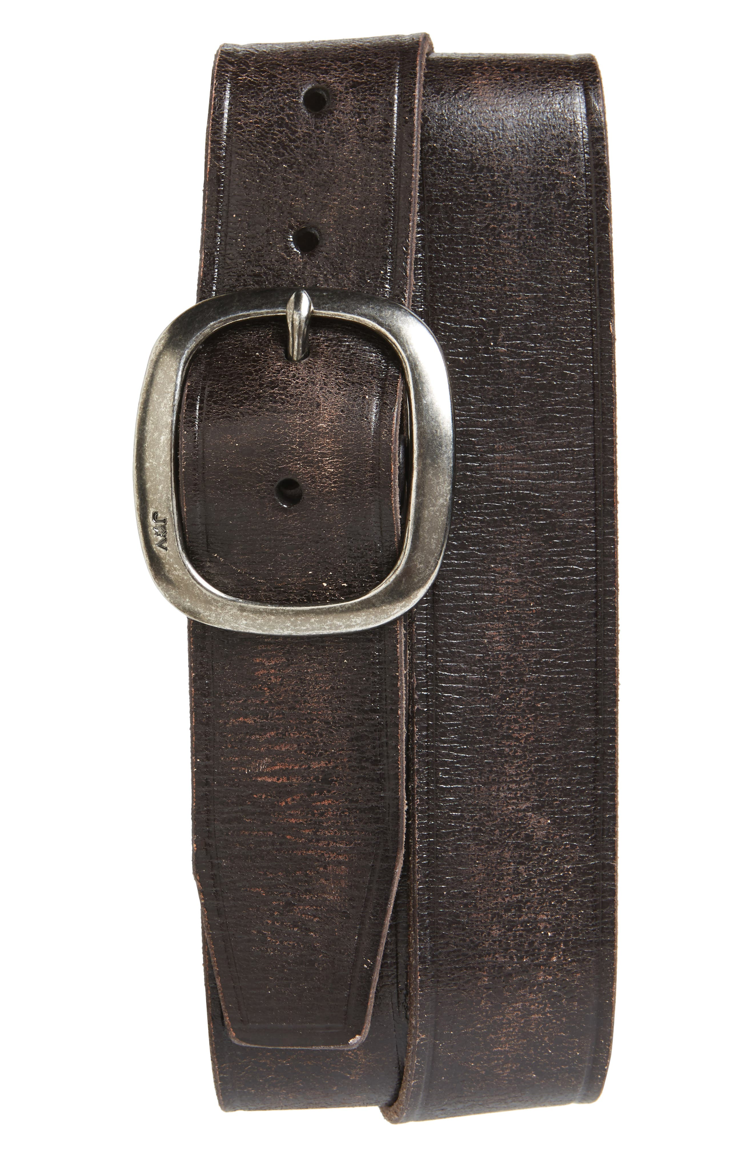 Distressed Leather Belt,                             Main thumbnail 1, color,                             Dark Brown
