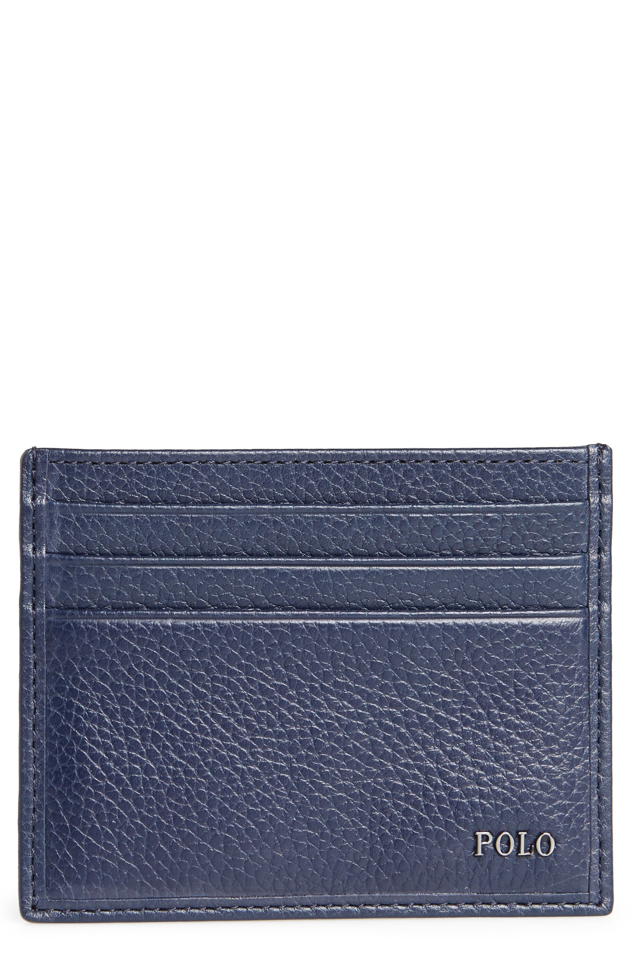 Leather Card Case,                             Main thumbnail 1, color,                             Blue