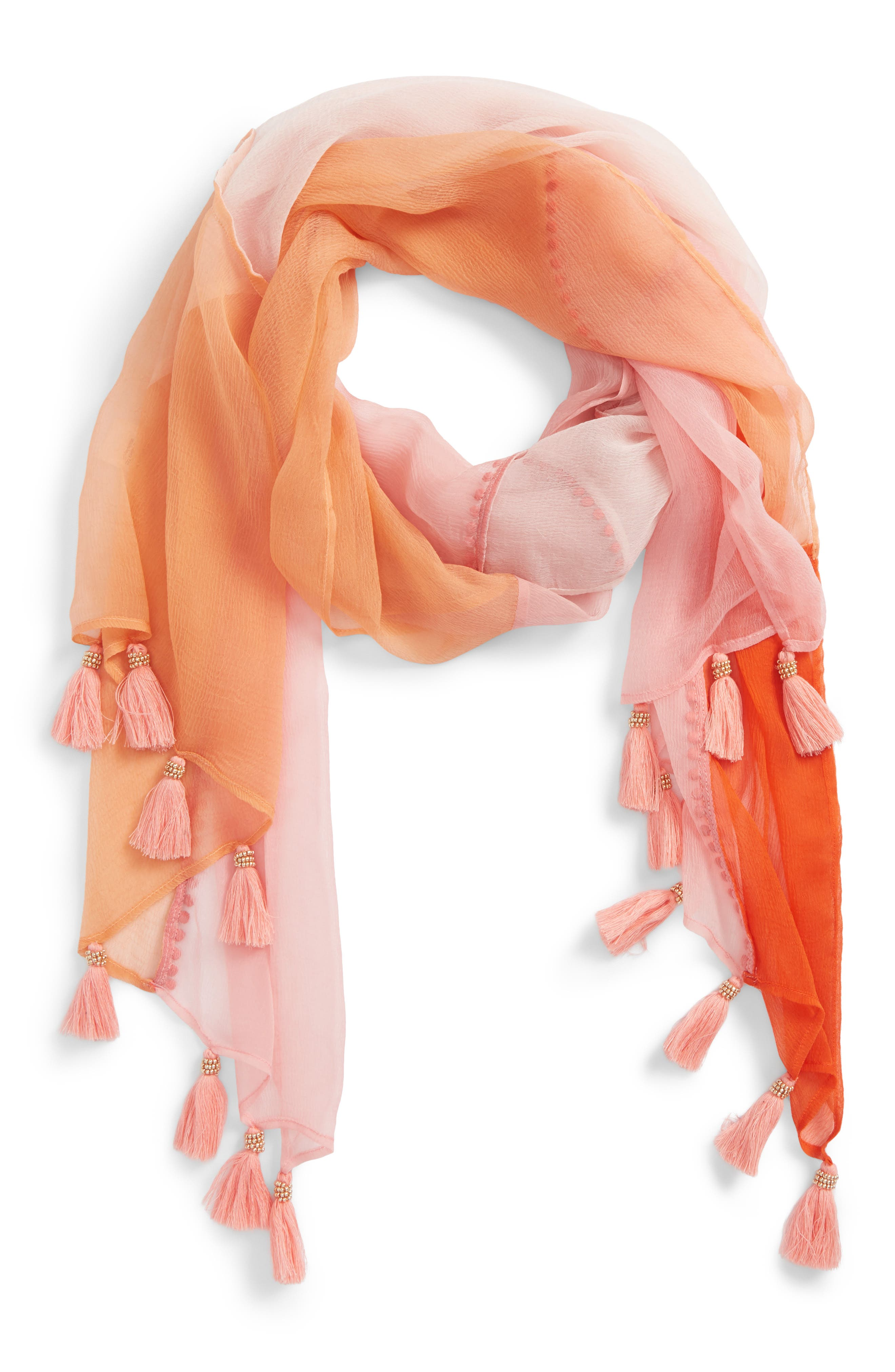Beaded Tassel Colorblock Scarf,                             Main thumbnail 1, color,                             Sorbet Combo