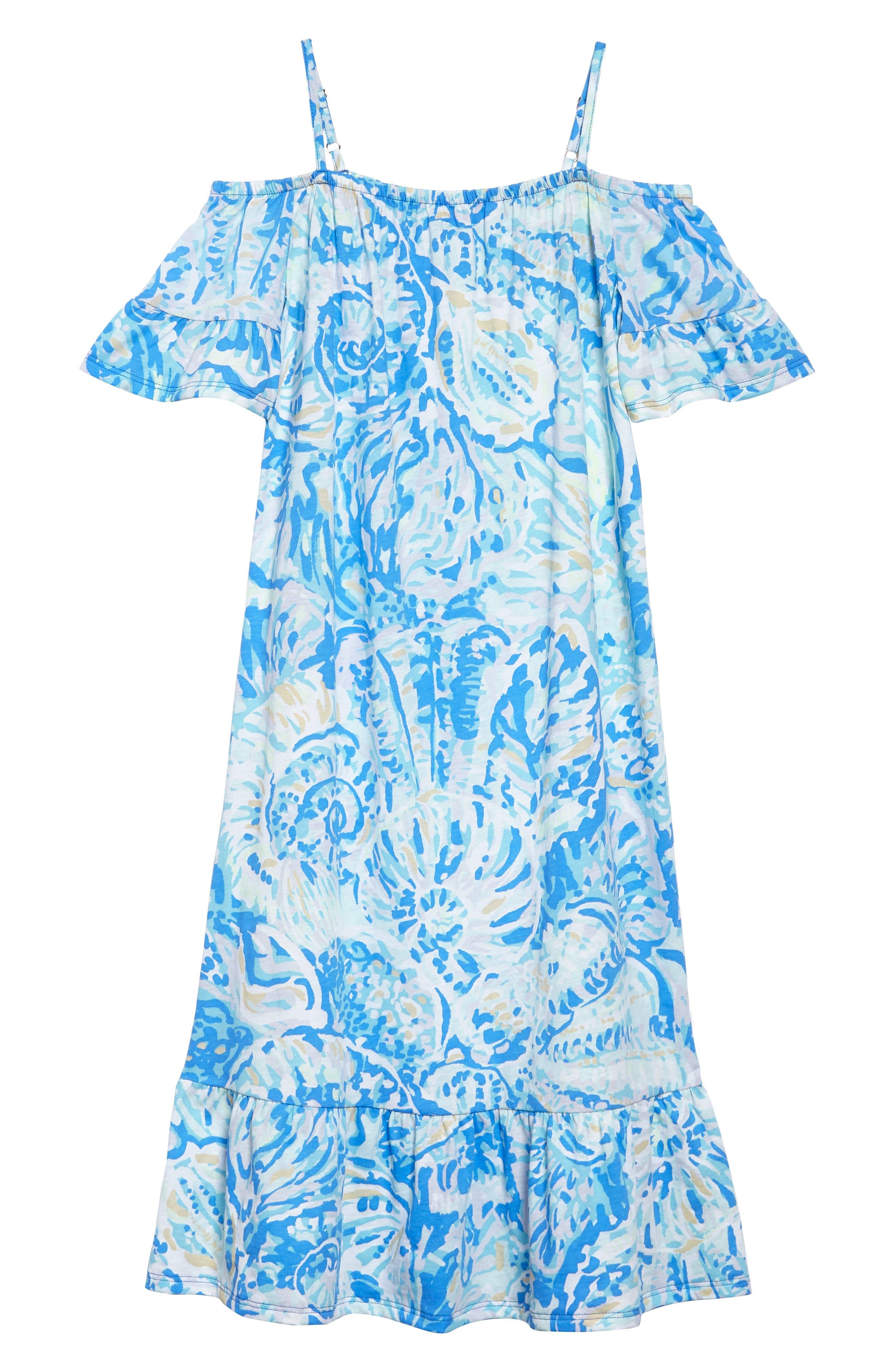 Clary Cold Shoulder Maxi Dress,                             Main thumbnail 1, color,                             Bennet Blue Salty Seas