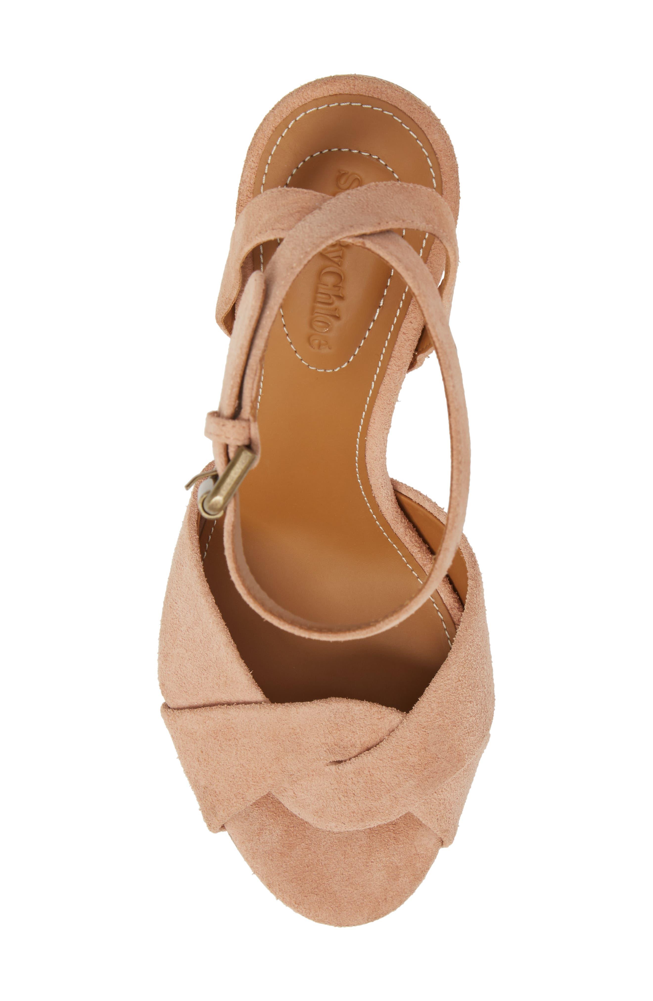 Isida Block Heel Sandal,                             Alternate thumbnail 5, color,                             Cipria