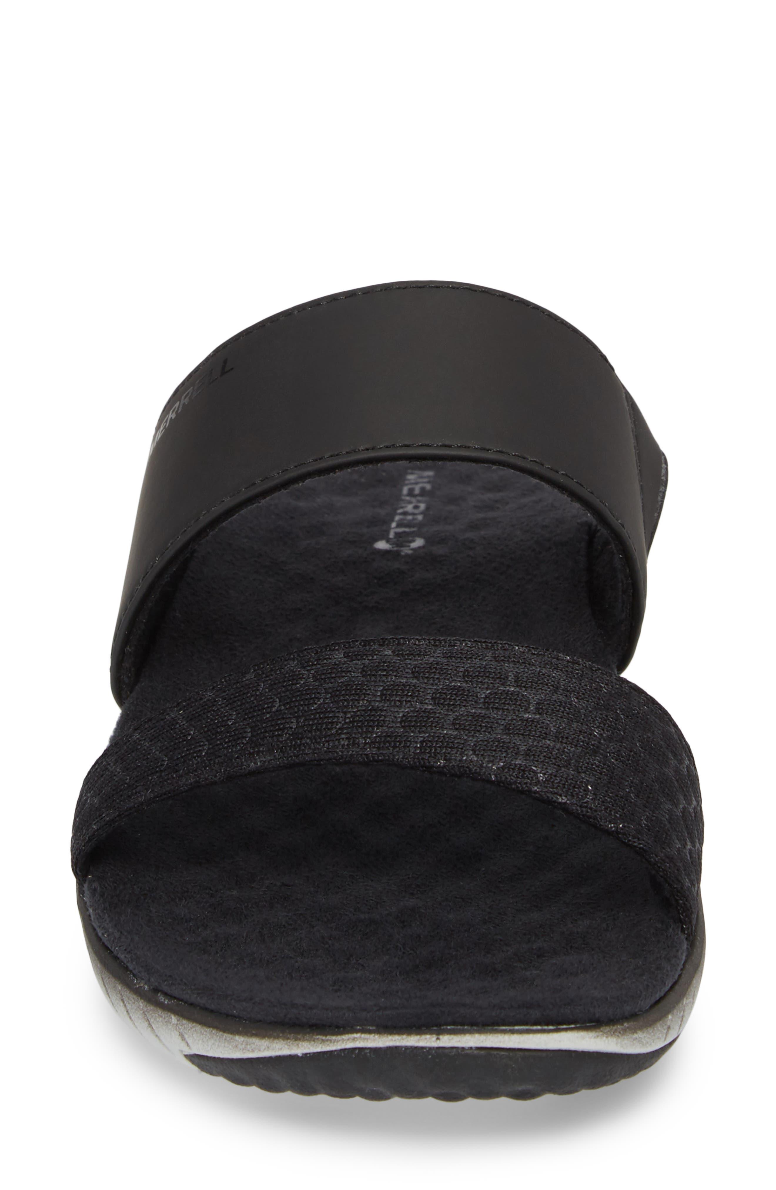 1SIX8 Linna Air Cushion+ Slide Sandal,                             Alternate thumbnail 4, color,                             Black
