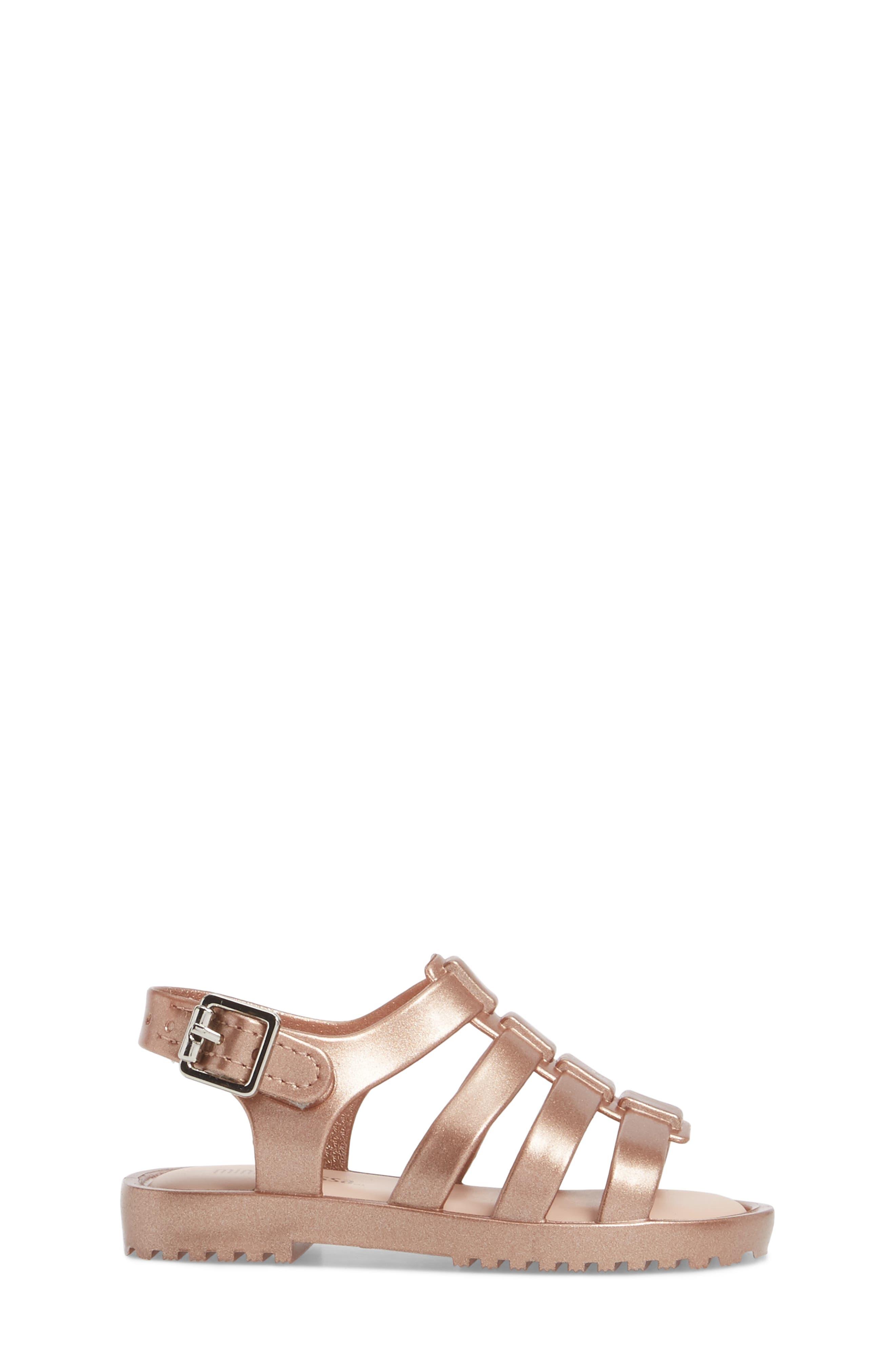 Mini Flox Shine Sandal,                             Alternate thumbnail 3, color,                             Rose Gold