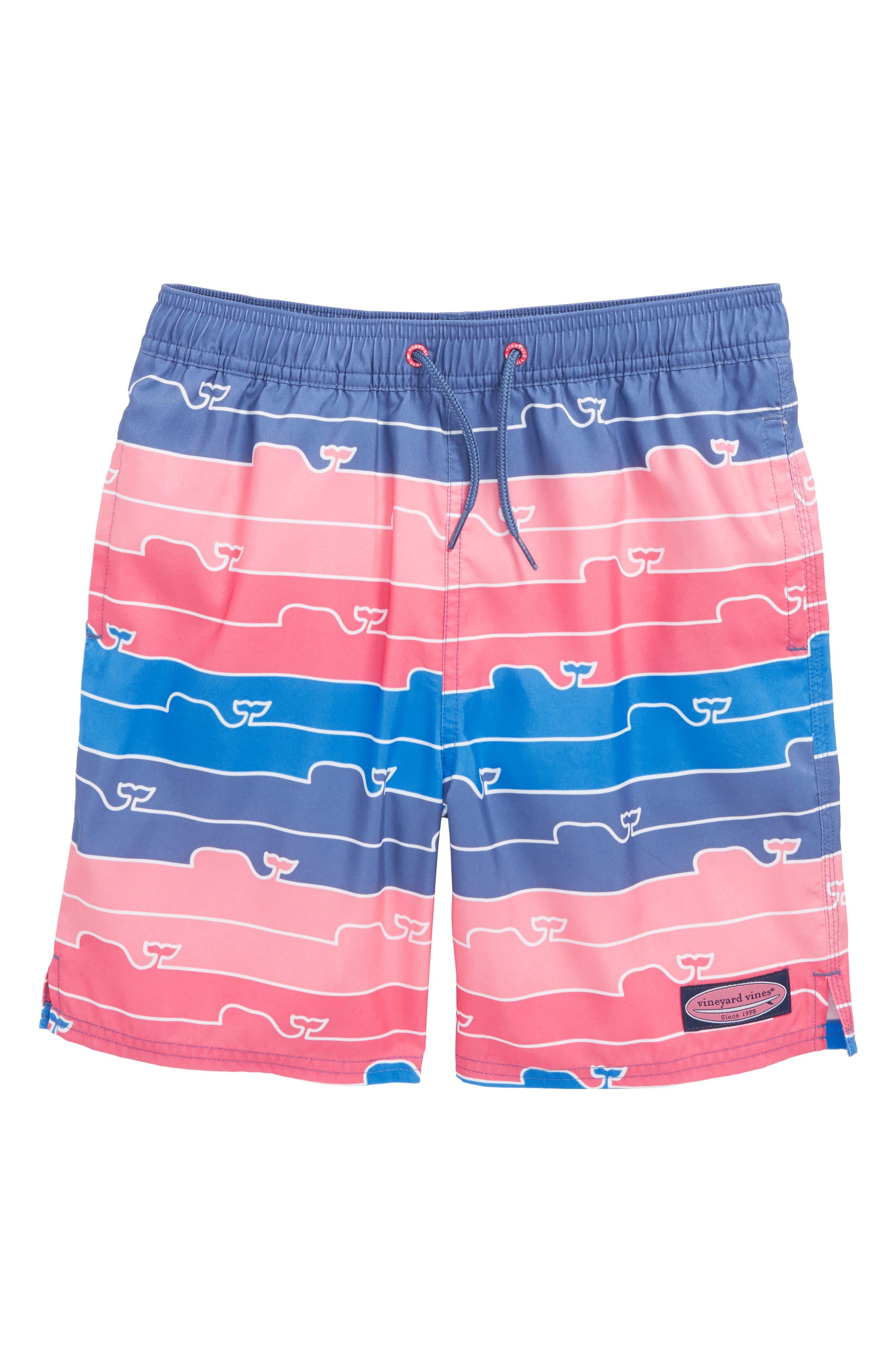 Chappy Whale Line Swim Trunks,                             Main thumbnail 1, color,                             Moonshine