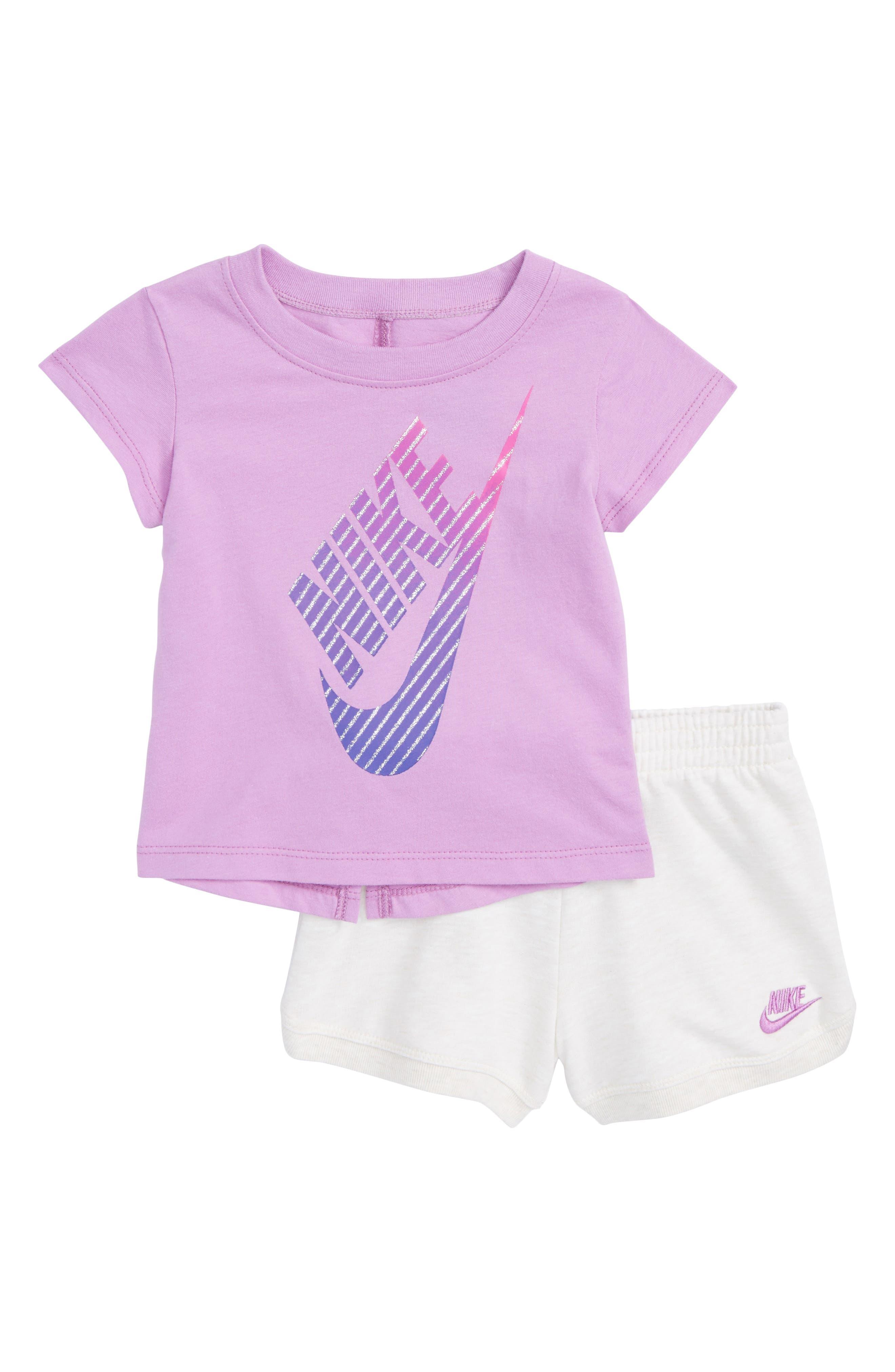 Alternate Image 1 Selected - Nike Gradient Futura Tee & Shorts Set (Baby Girls)