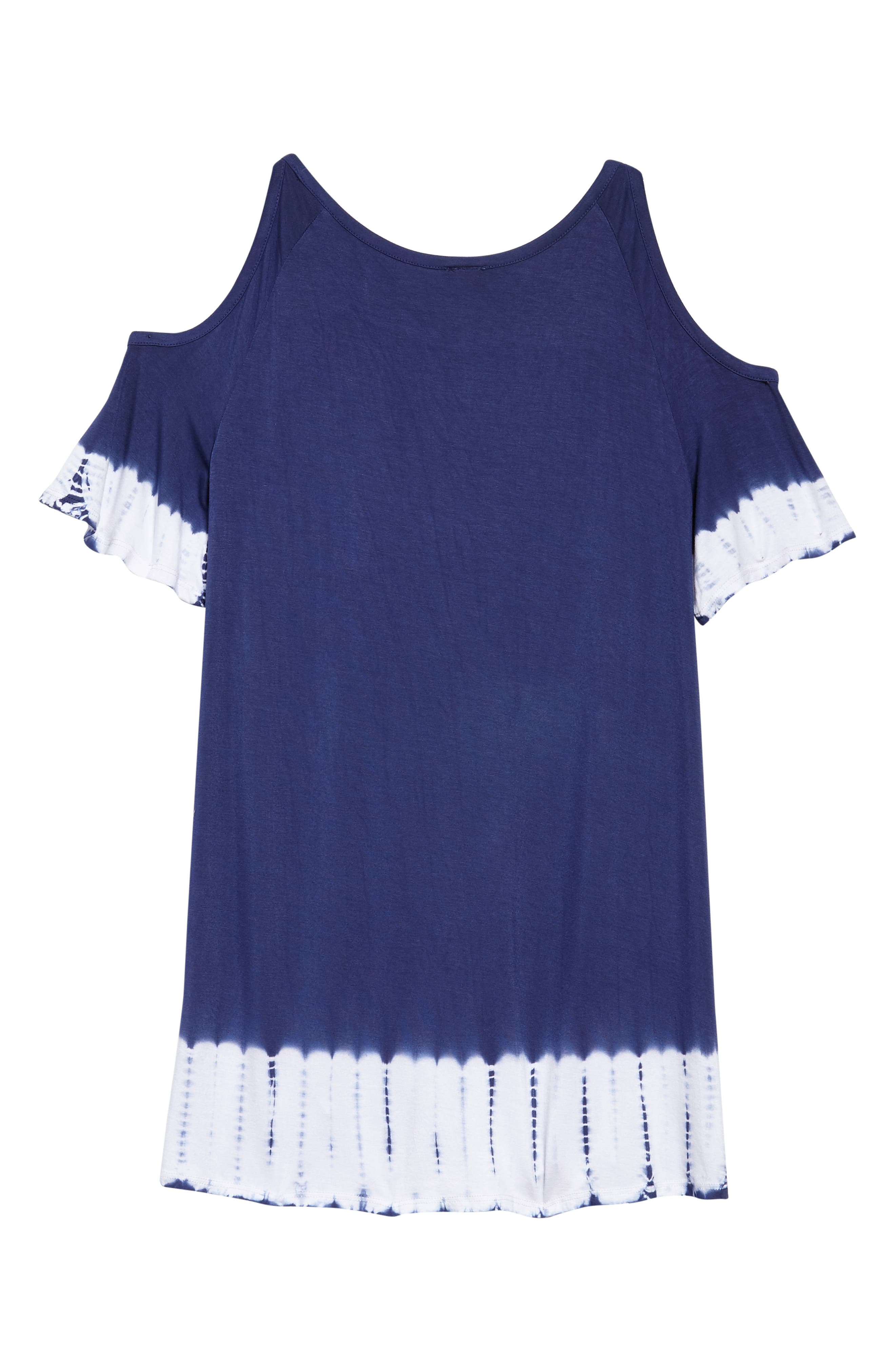 Drapey Cold Shoulder Cover-Up Dress,                             Alternate thumbnail 2, color,                             Navy Ribbon Tie Dye