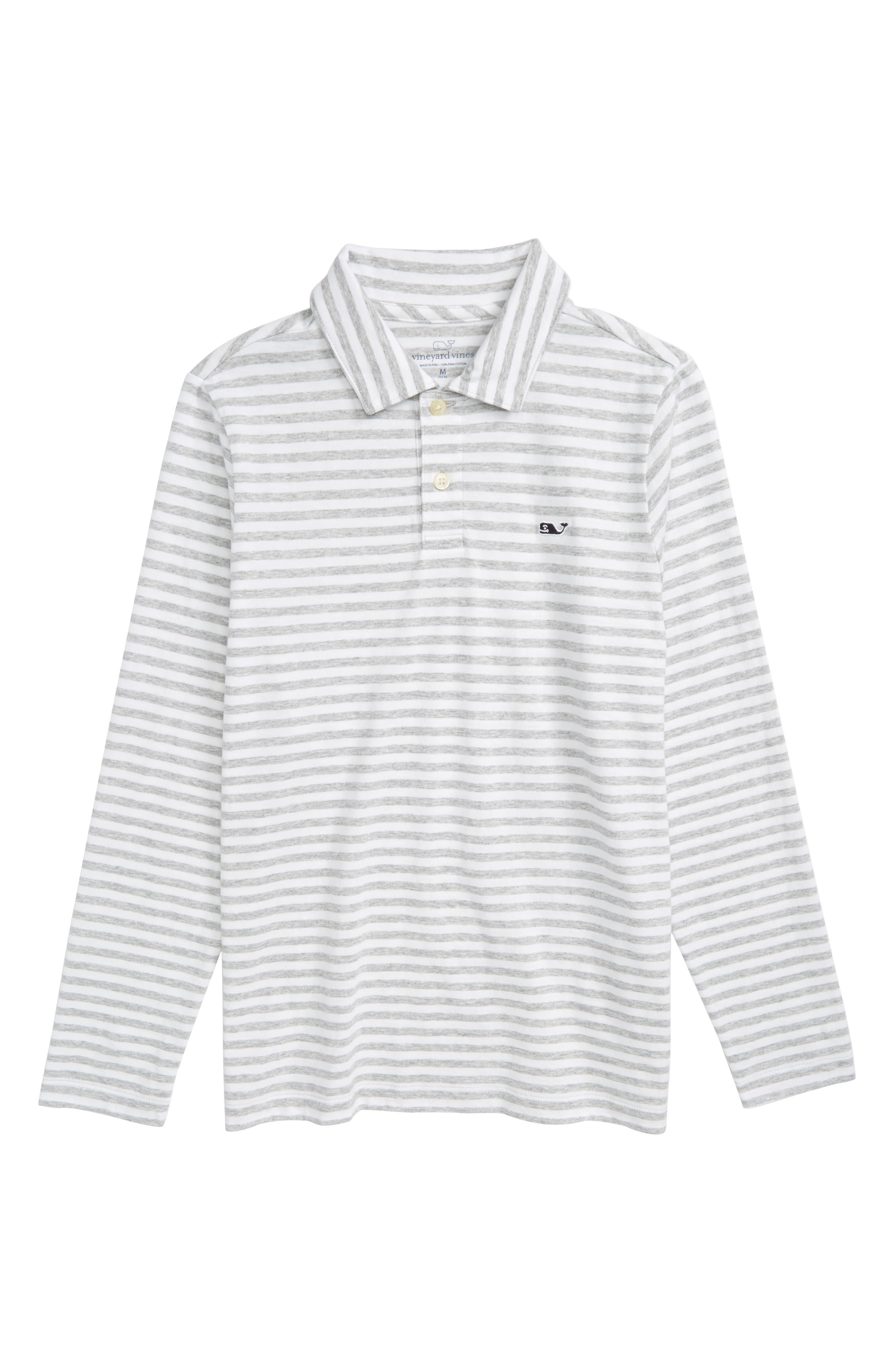 Stripe Long Sleeve Polo,                         Main,                         color, Gray Heather