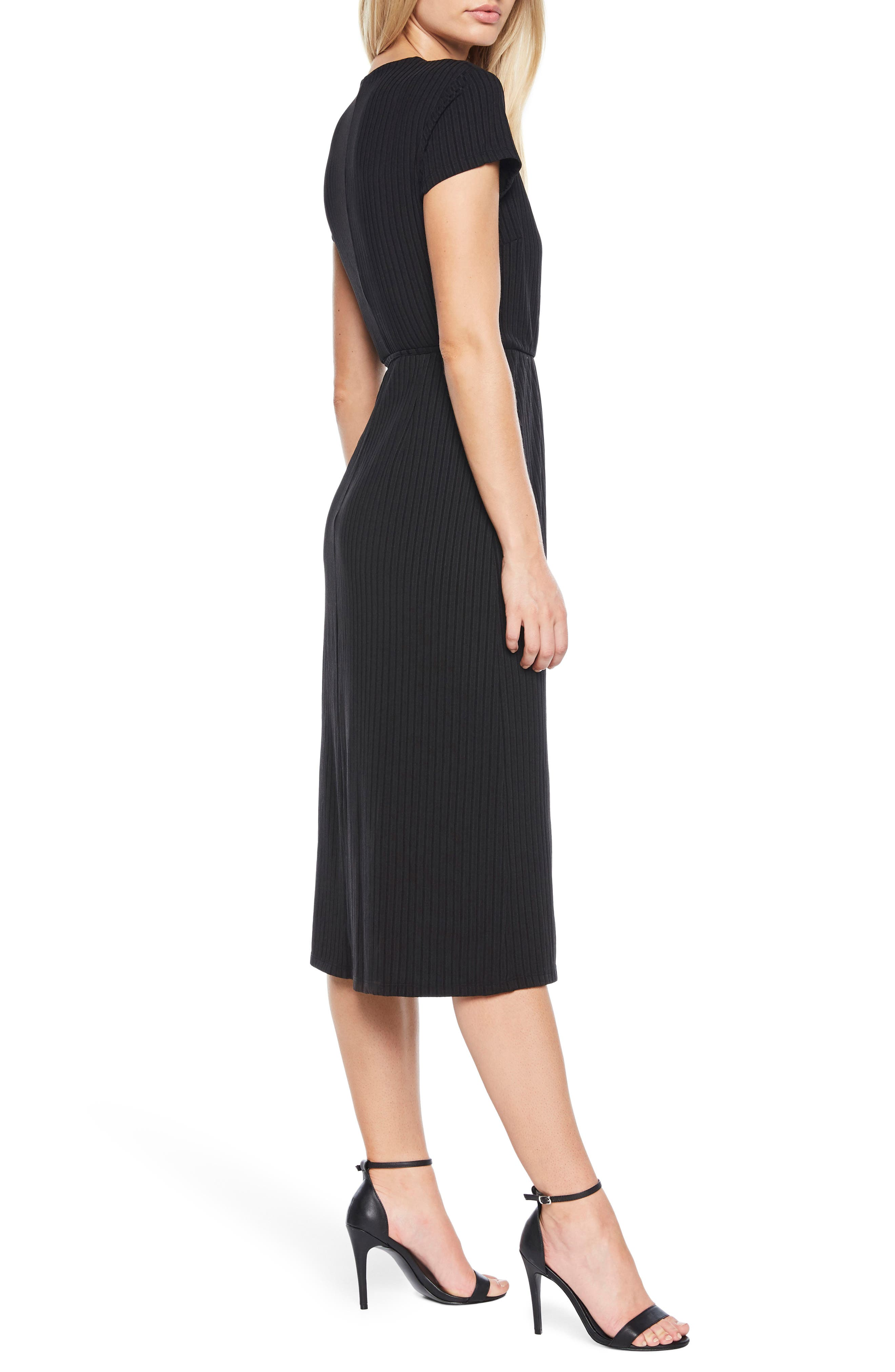 Stevie Wrap Dress,                             Alternate thumbnail 3, color,                             Black