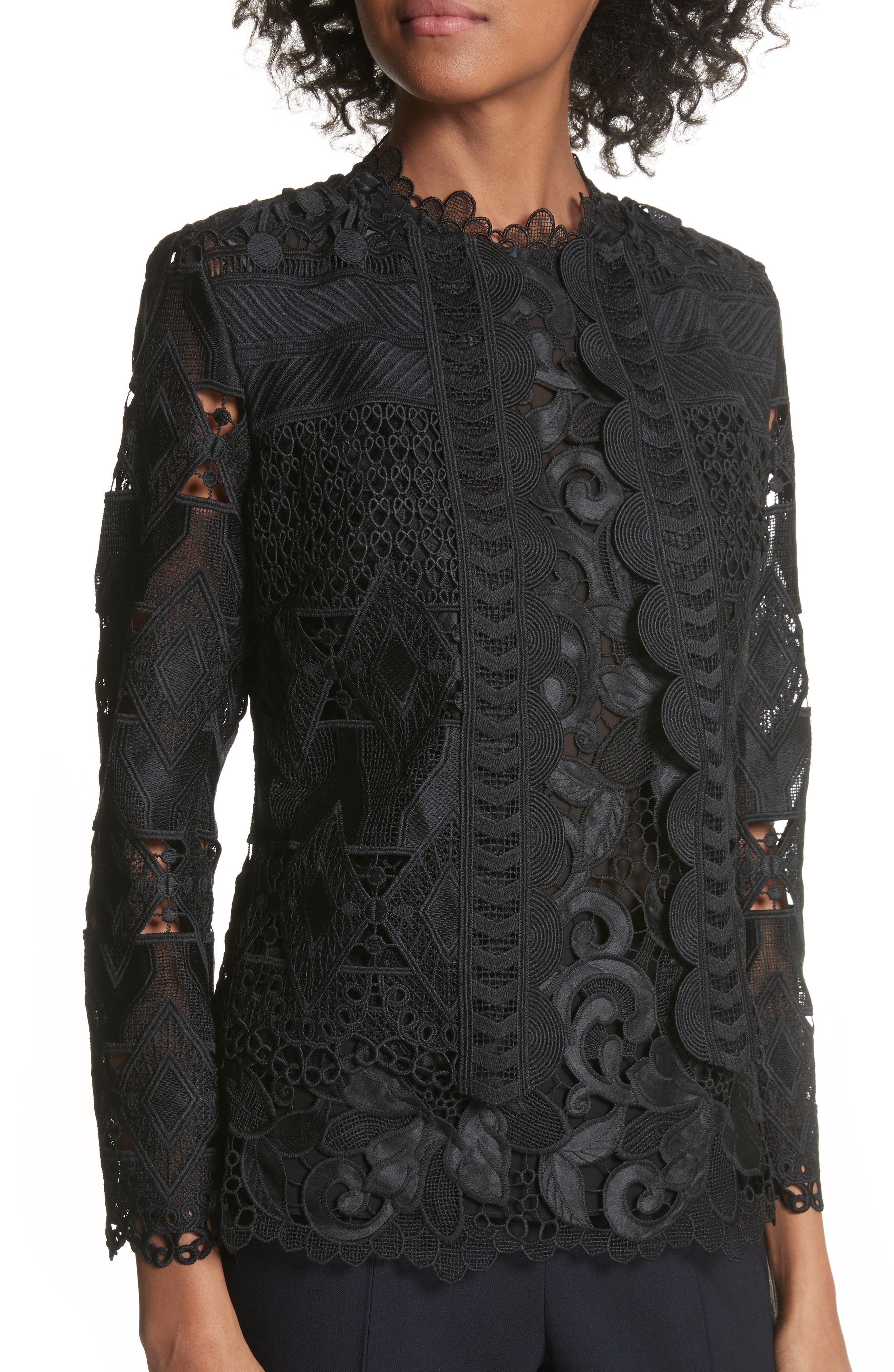 Crop Lace Jacket,                             Alternate thumbnail 4, color,                             Black