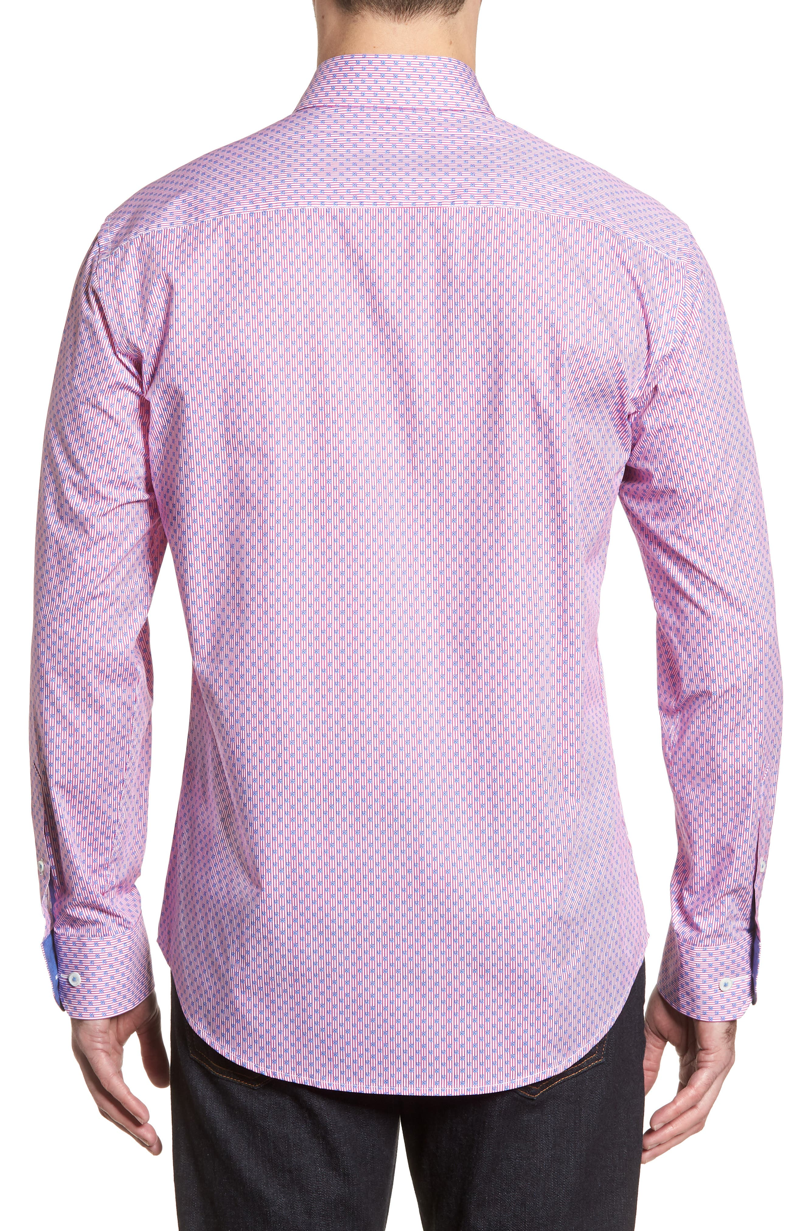 Flowers & Pinstripes Shaped Fit Sport Shirt,                             Alternate thumbnail 2, color,                             Pink