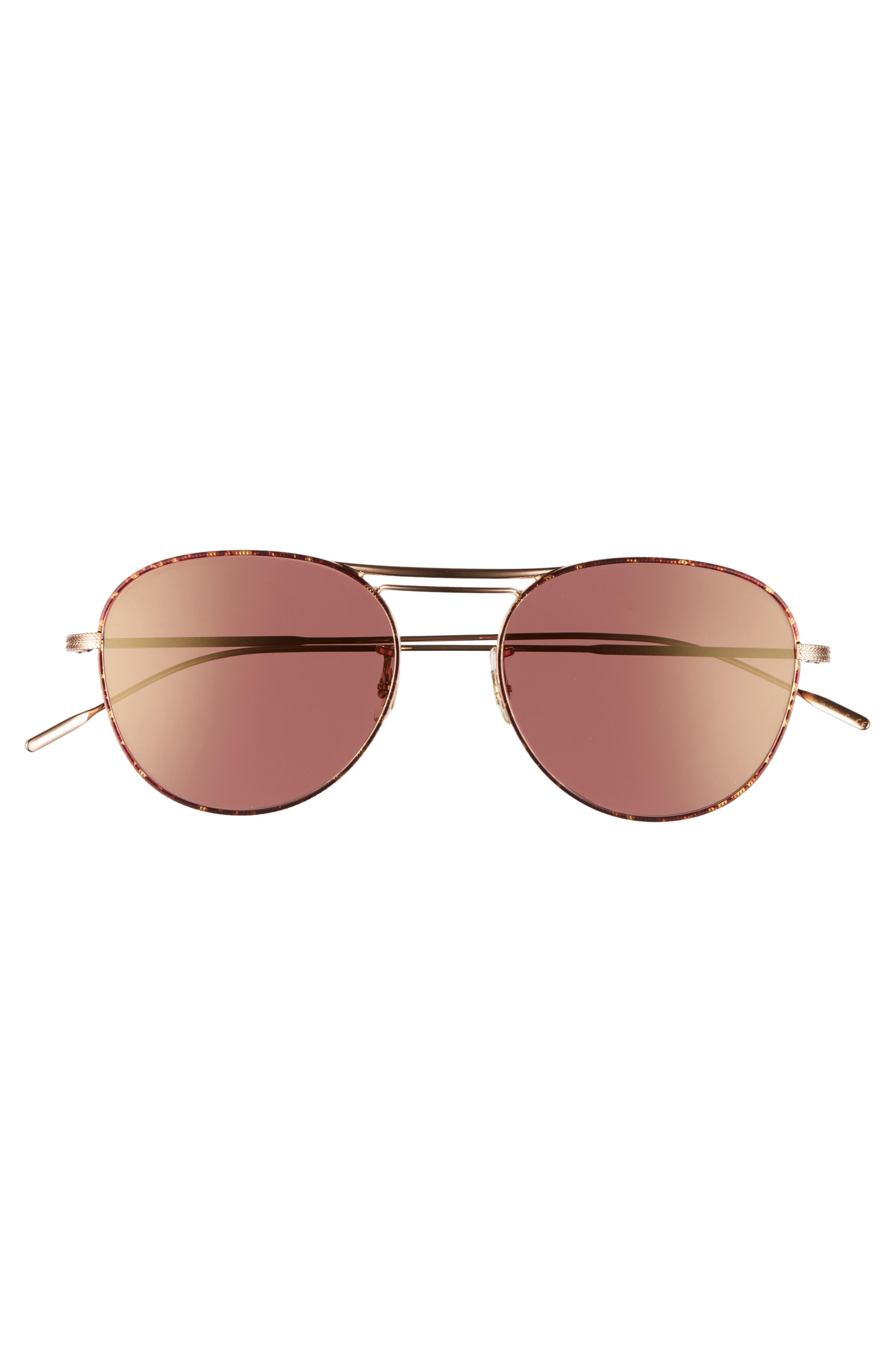 Cade 52mm Mirror Lens Aviator Sunglasses,                             Alternate thumbnail 2, color,                             Burgundy