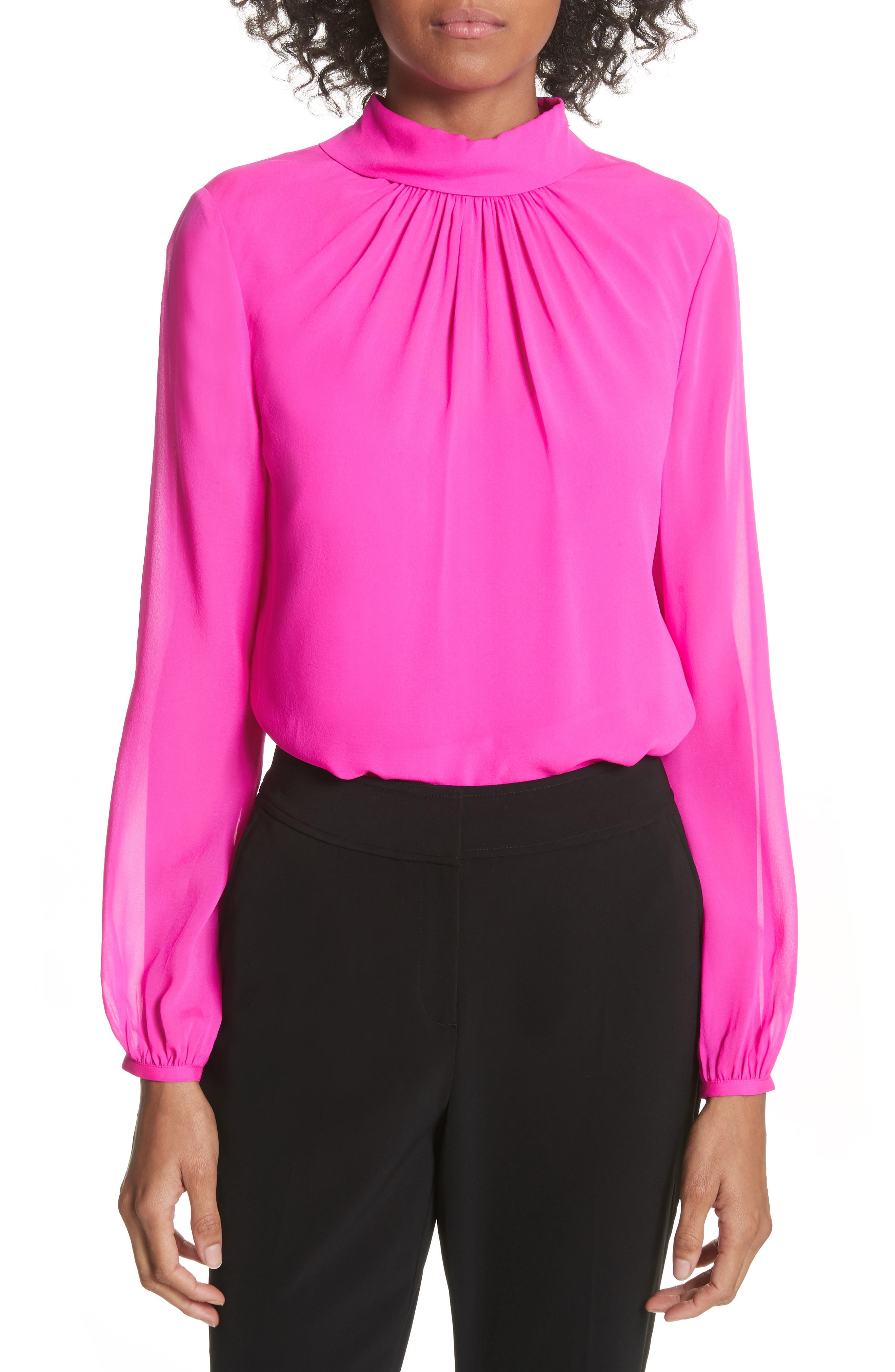 Ruched Silk High Neck Blouse,                             Main thumbnail 1, color,                             Bright Pink