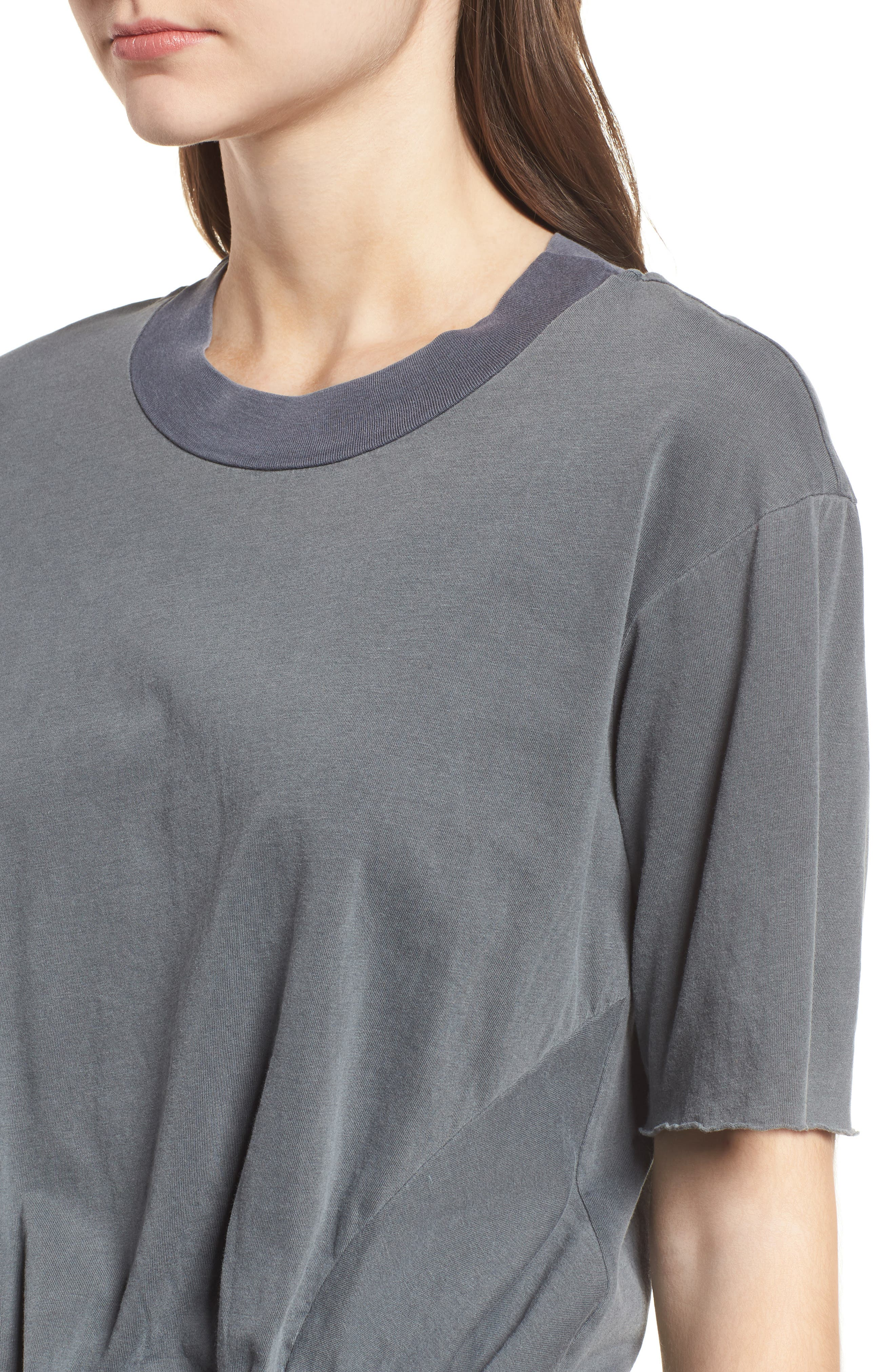 Twist Hem Brushed Jersey Tee,                             Alternate thumbnail 4, color,                             Charcoal