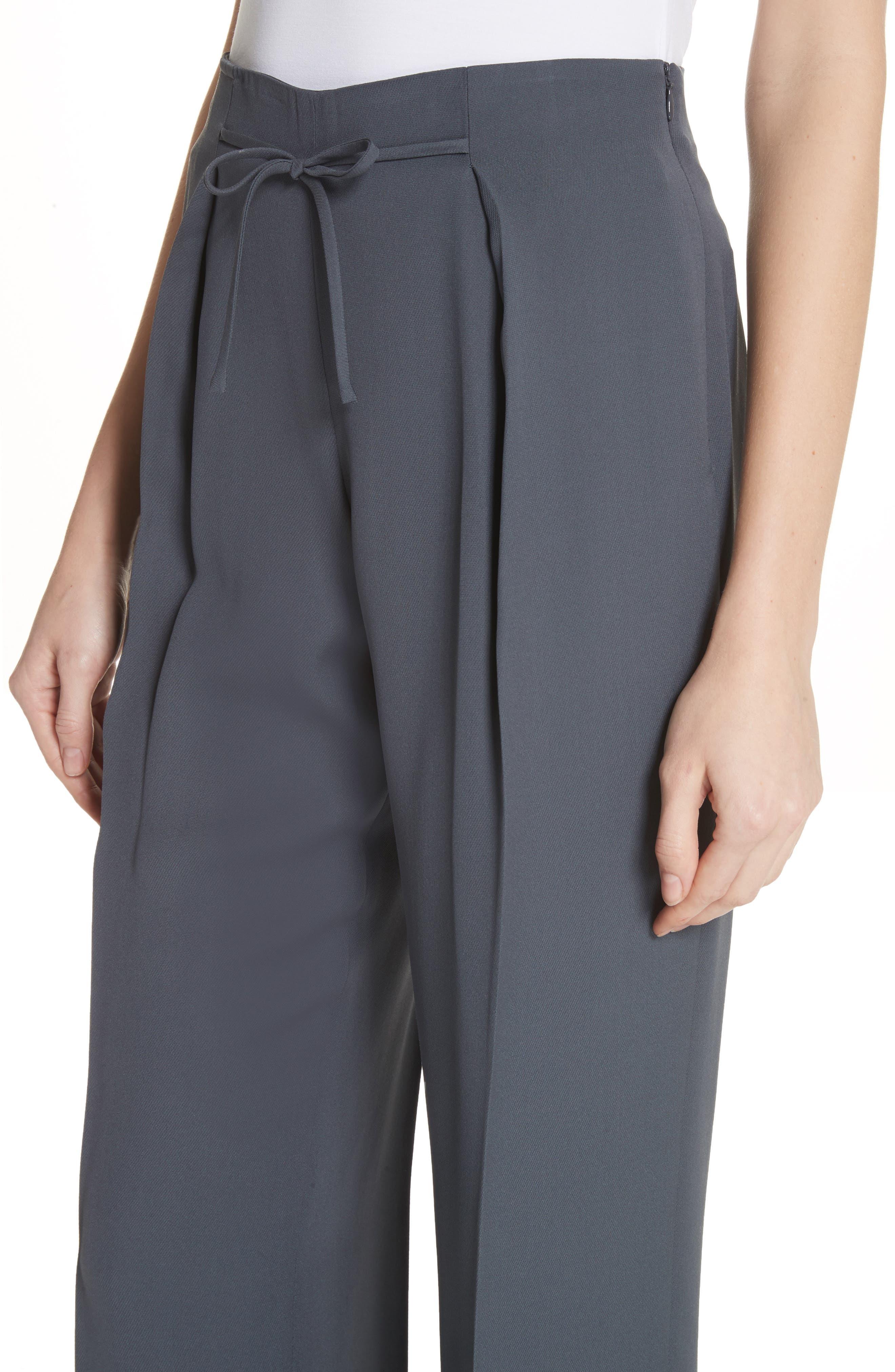 Tie Front Silk Pants,                             Alternate thumbnail 4, color,                             Abisso