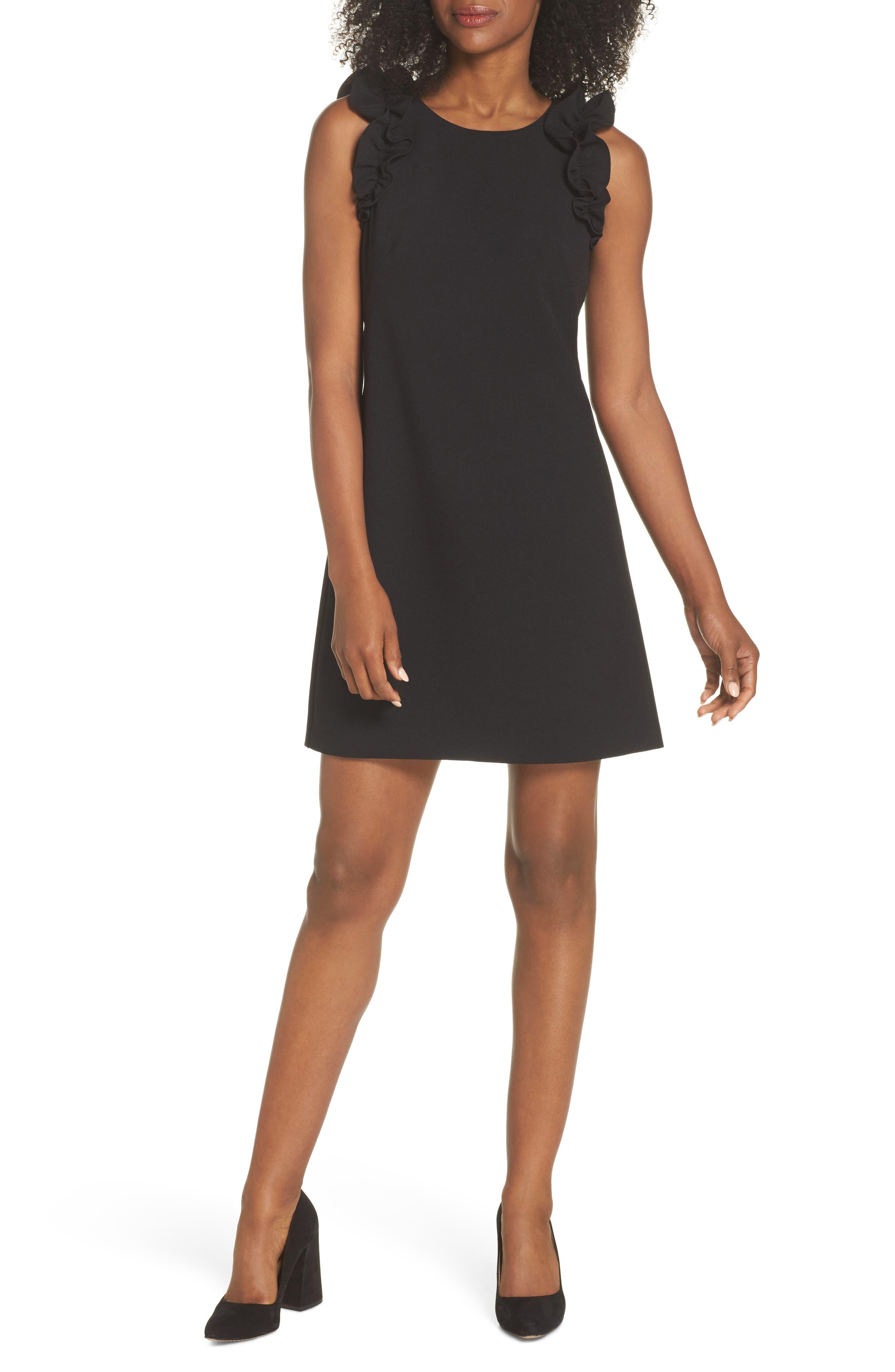 Ruffle Shoulder Crepe Shift Dress,                             Main thumbnail 1, color,                             Black