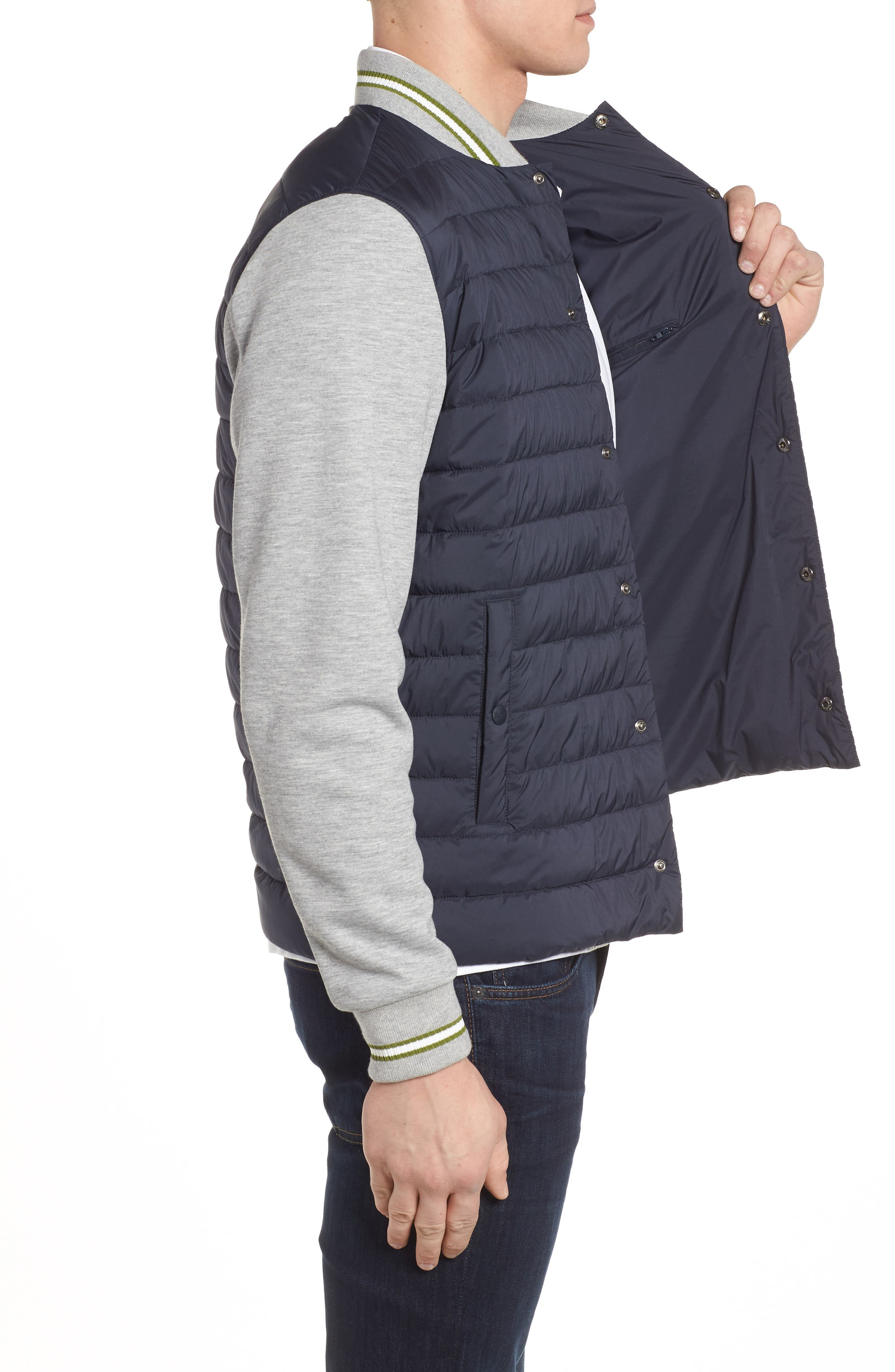 Quilted Baseball Jacket,                             Alternate thumbnail 3, color,                             Navy