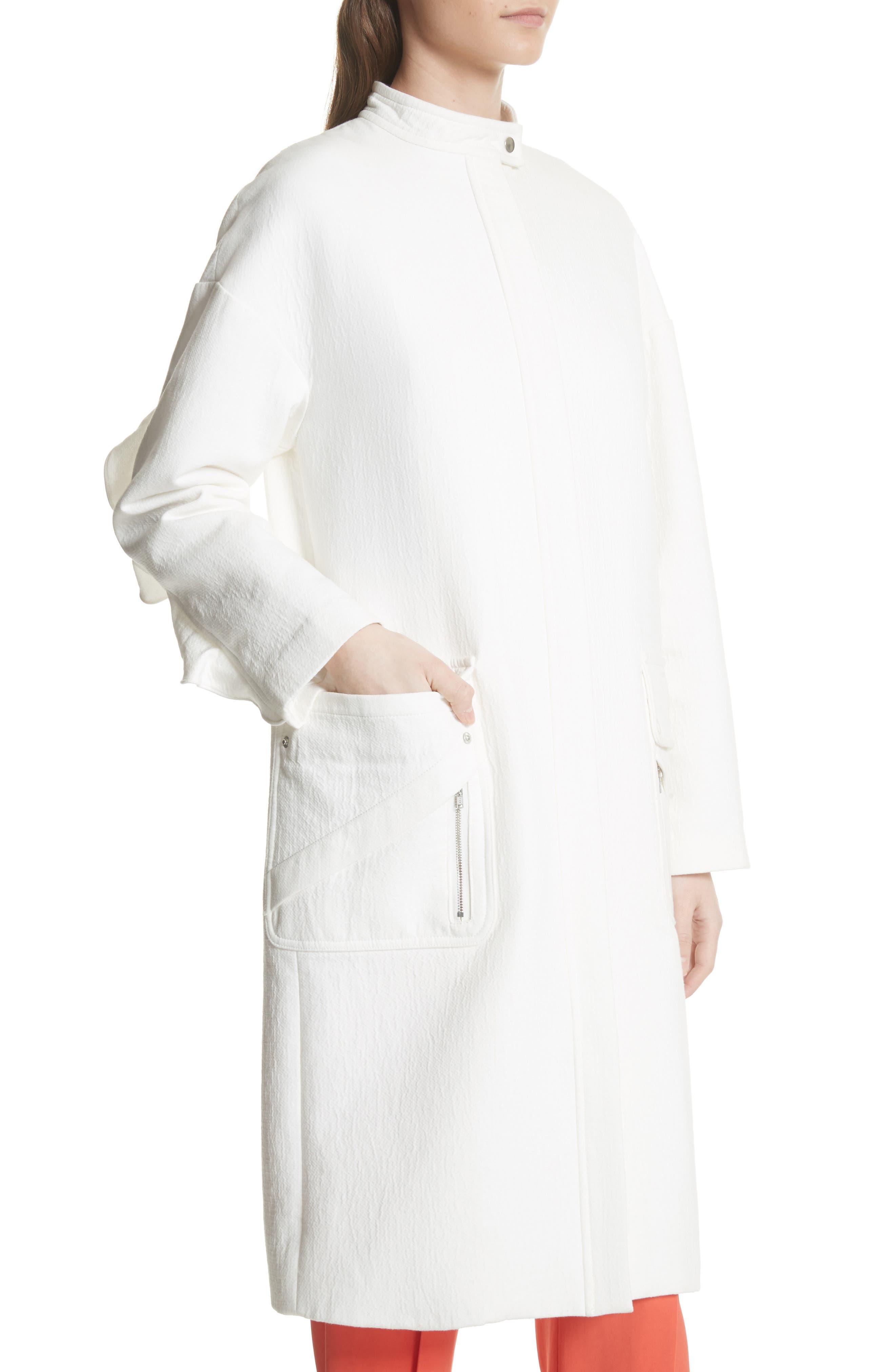 Ruffle Sleeve Cotton Coat,                             Alternate thumbnail 4, color,                             Linen
