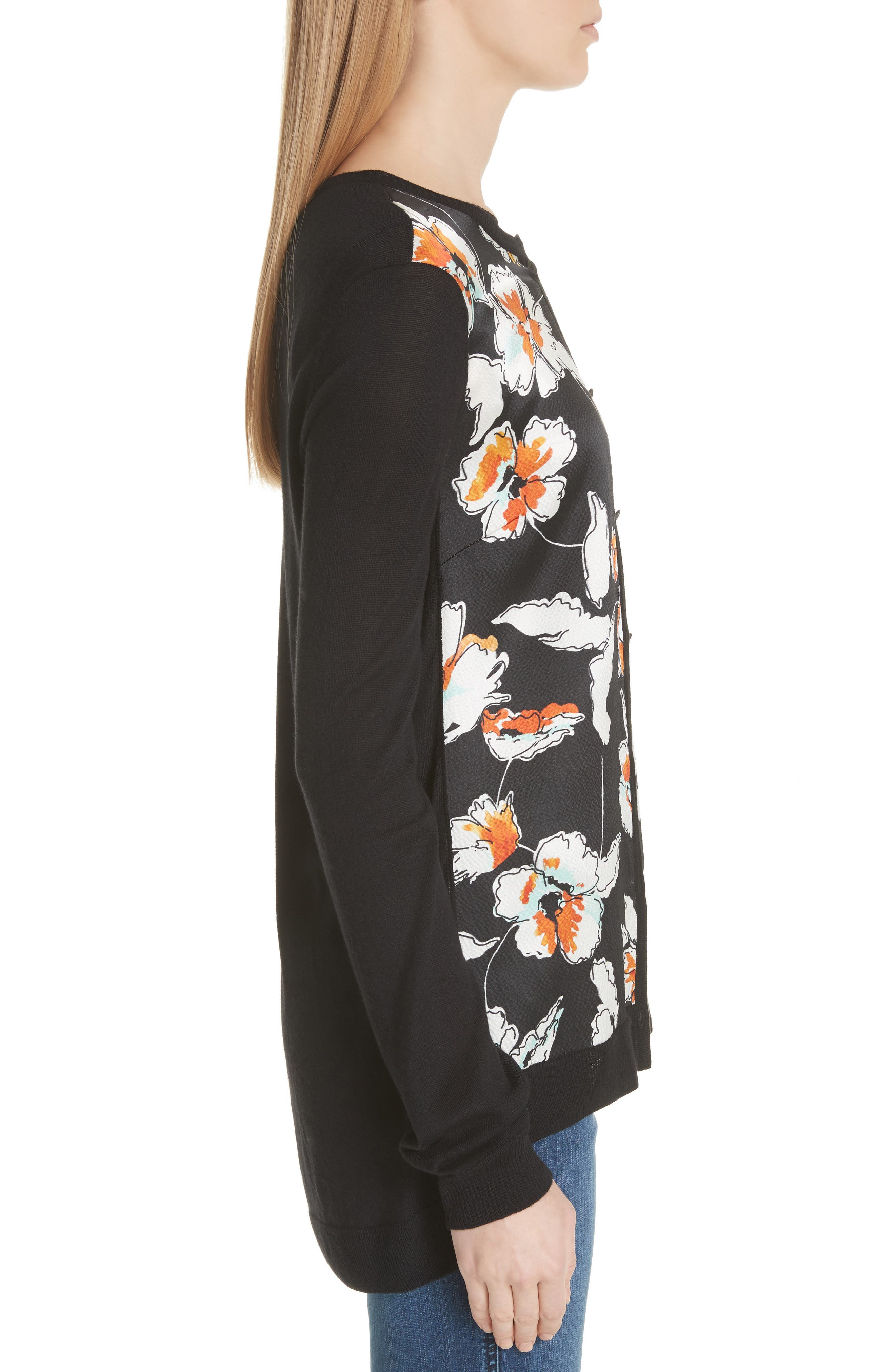 Modern Floral Hammered Satin & Jersey Knit Cardigan,                             Alternate thumbnail 3, color,                             Caviar Multi