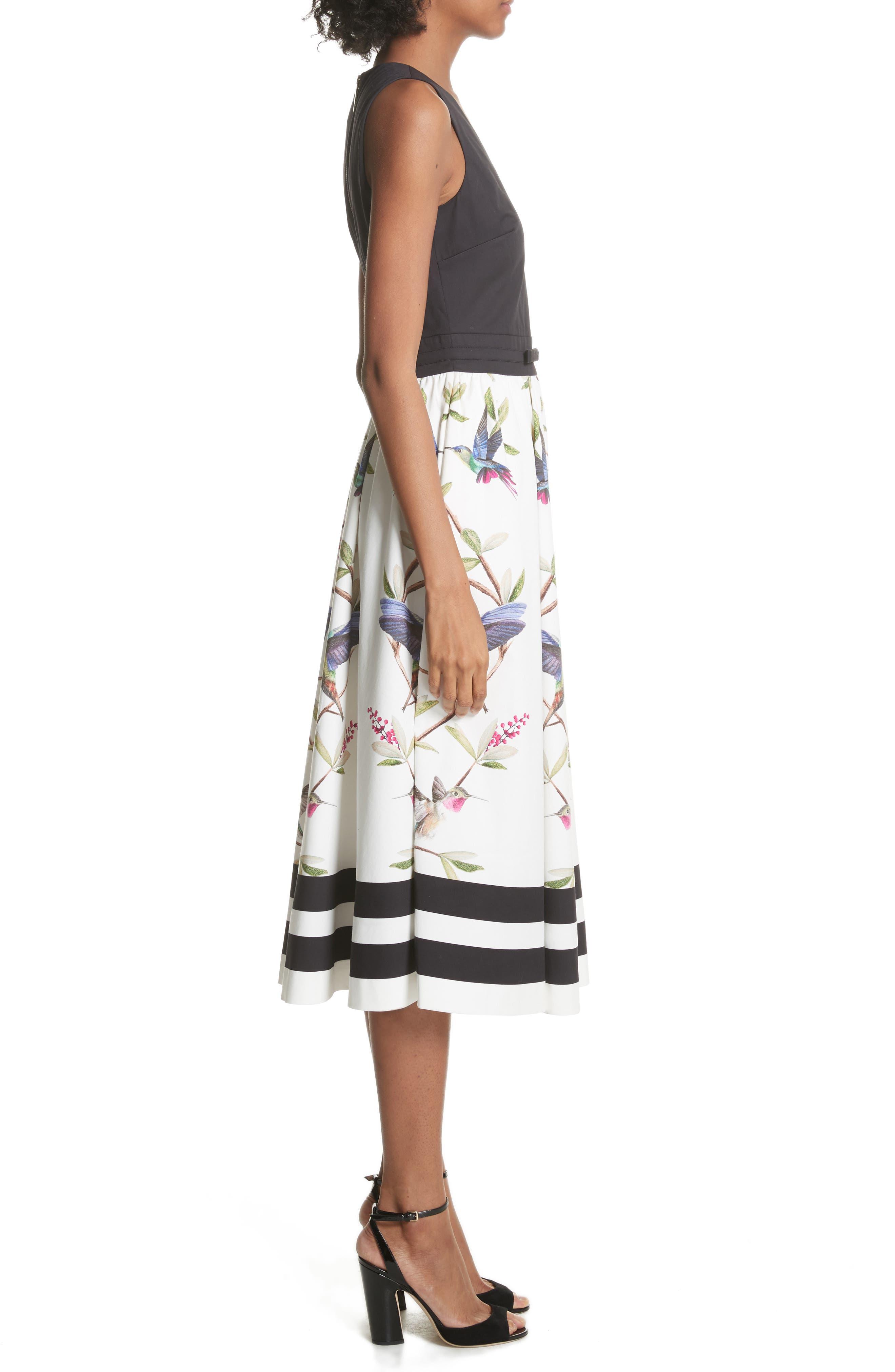 High Grove Fit & Flare Dress,                             Alternate thumbnail 3, color,                             Black