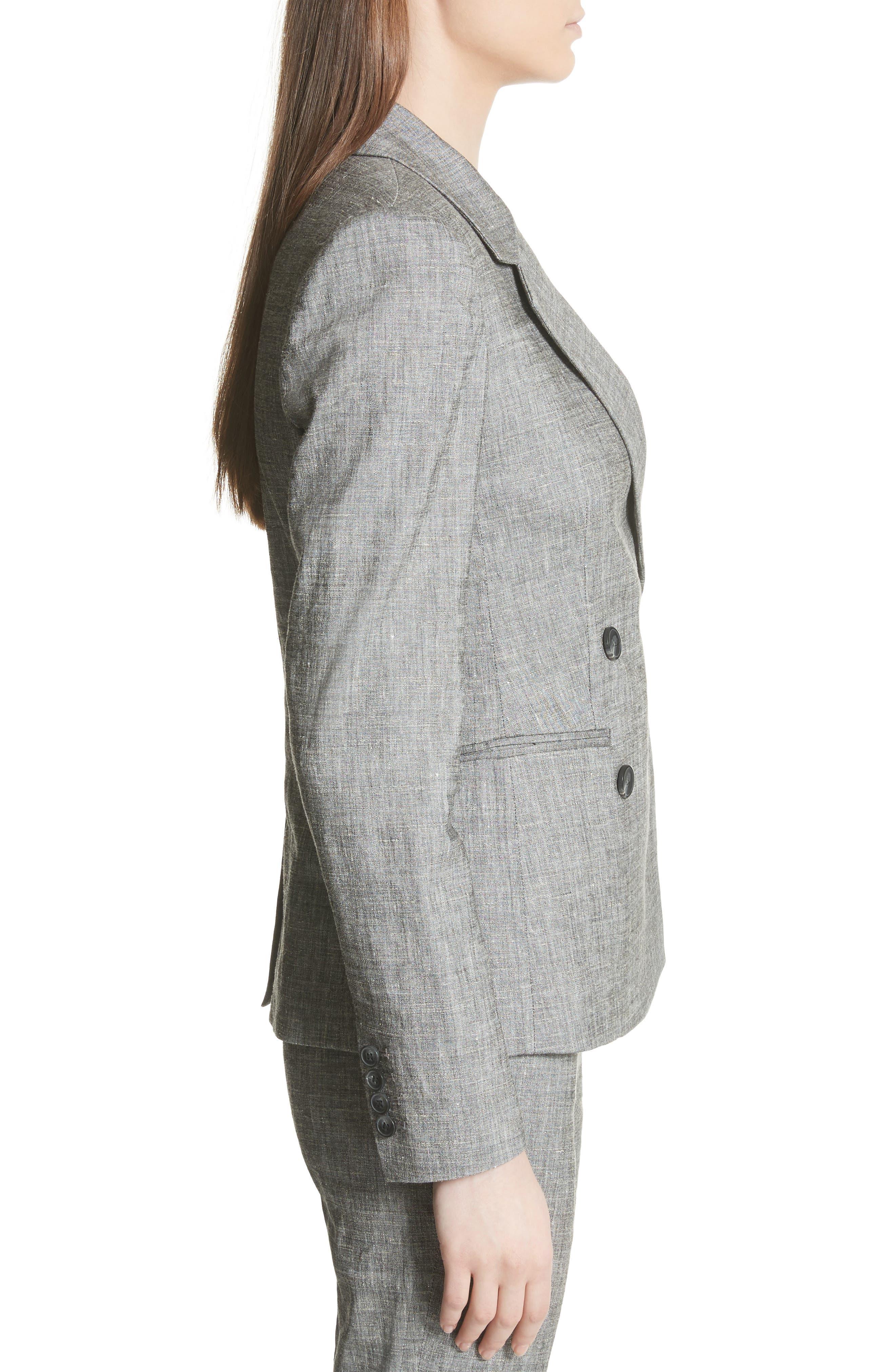 Double Breasted Linen Blend Suit Jacket,                             Alternate thumbnail 3, color,                             Black