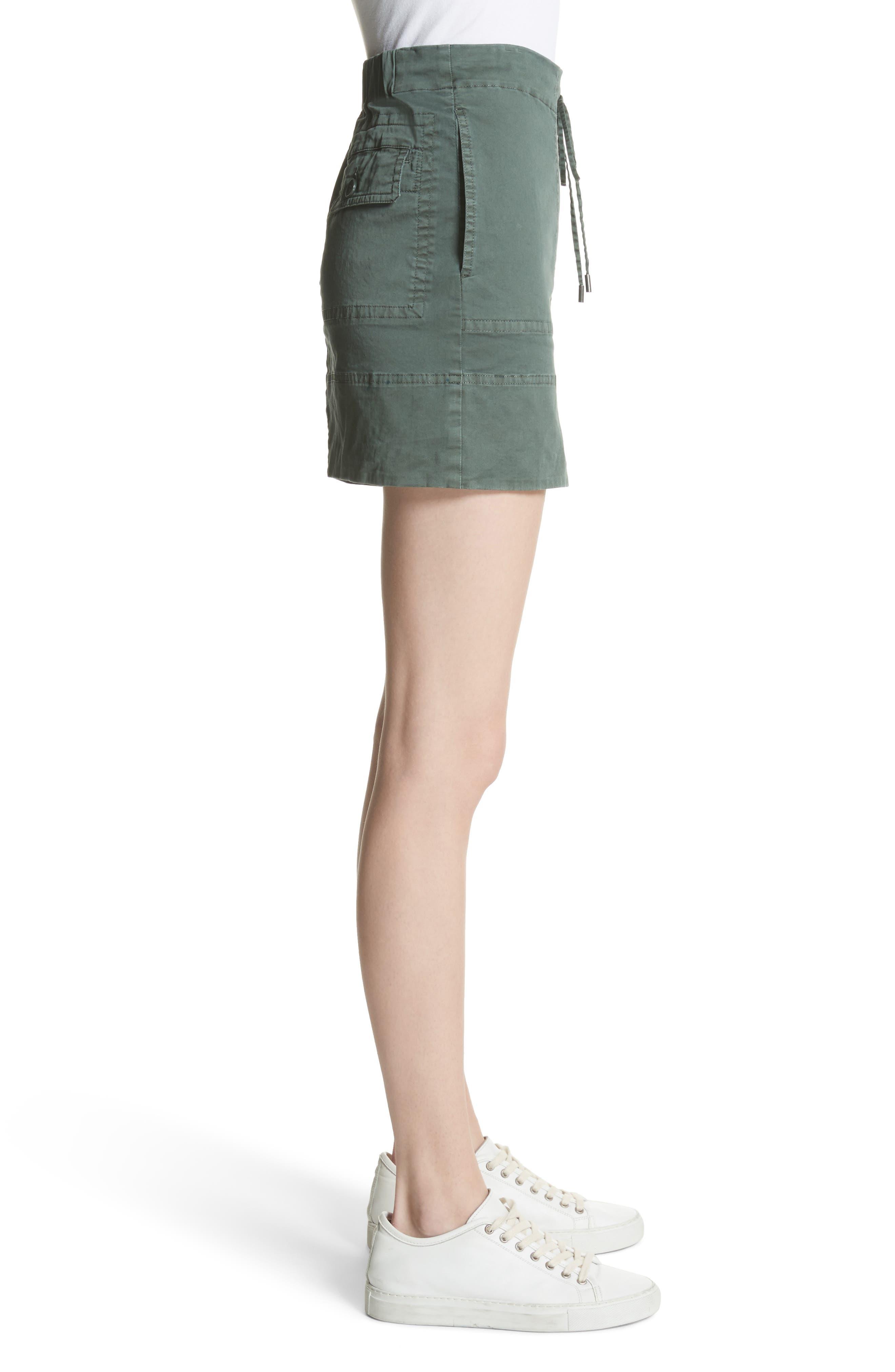 Stretch Cotton Drawstring Miniskirt,                             Alternate thumbnail 3, color,                             Spanish Green