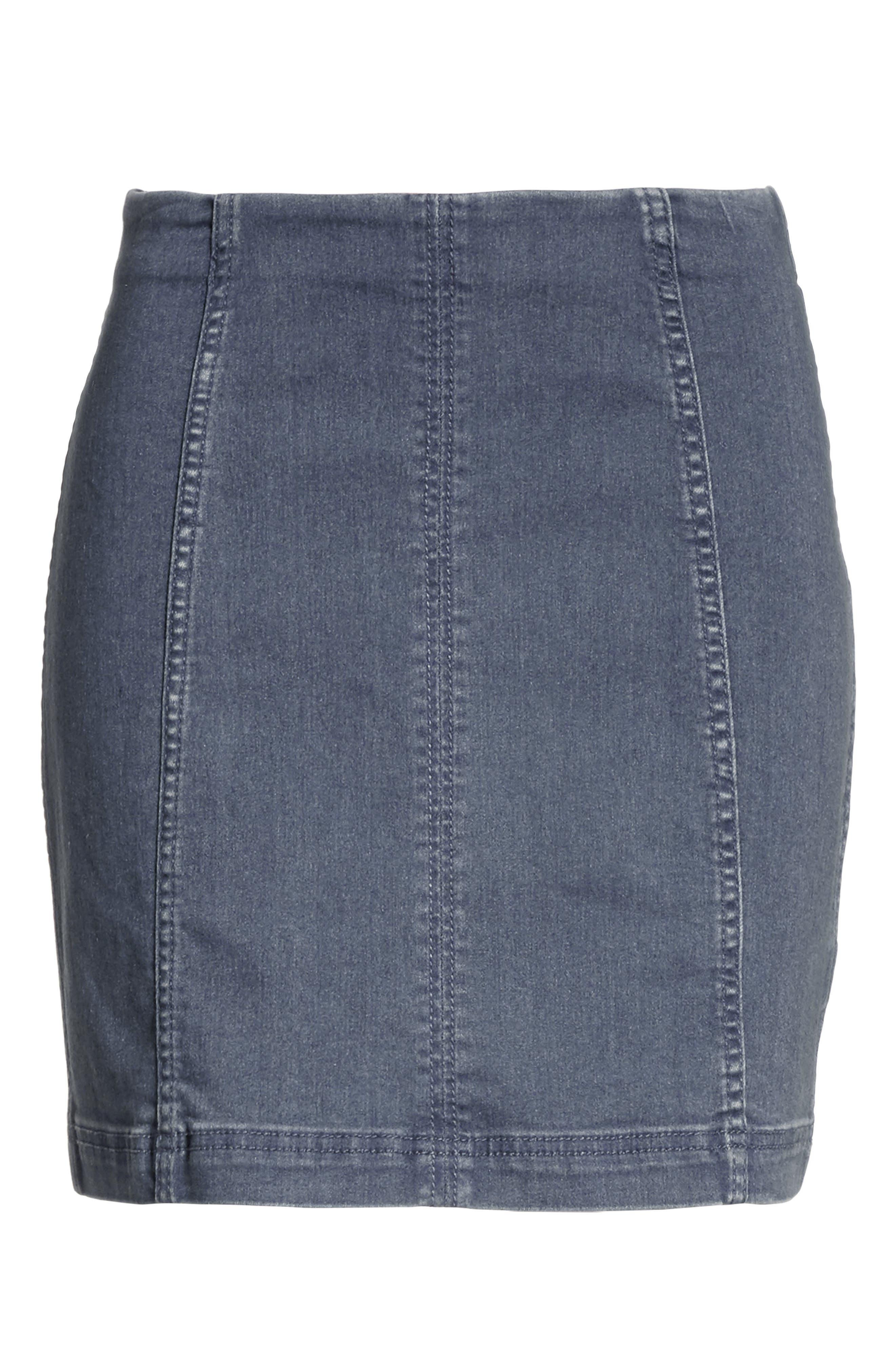 'Modern Femme' Denim Miniskirt,                             Alternate thumbnail 6, color,                             Blue