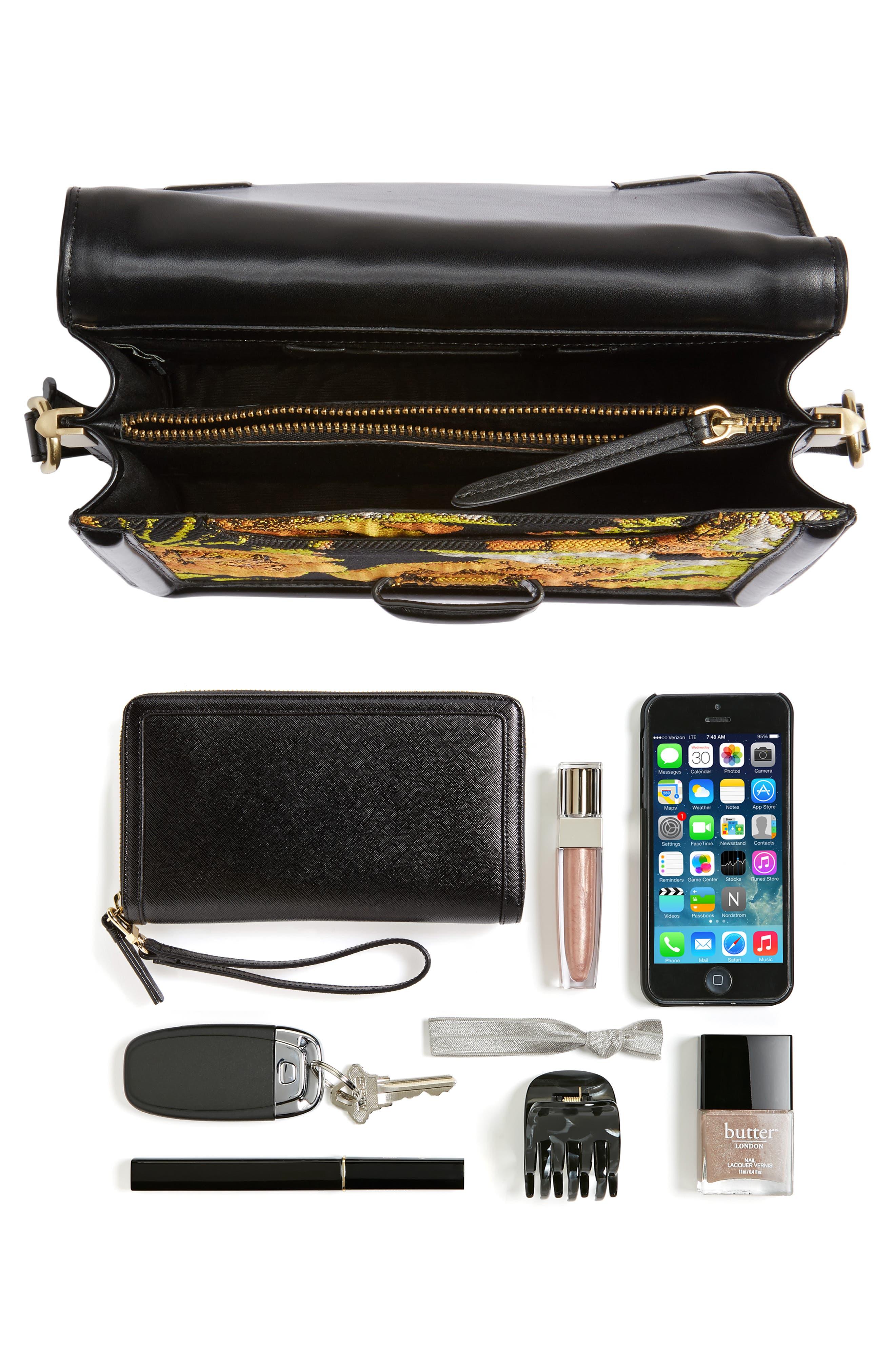 Floral Jacquard & Leather Crossbody Bag,                             Alternate thumbnail 7, color,