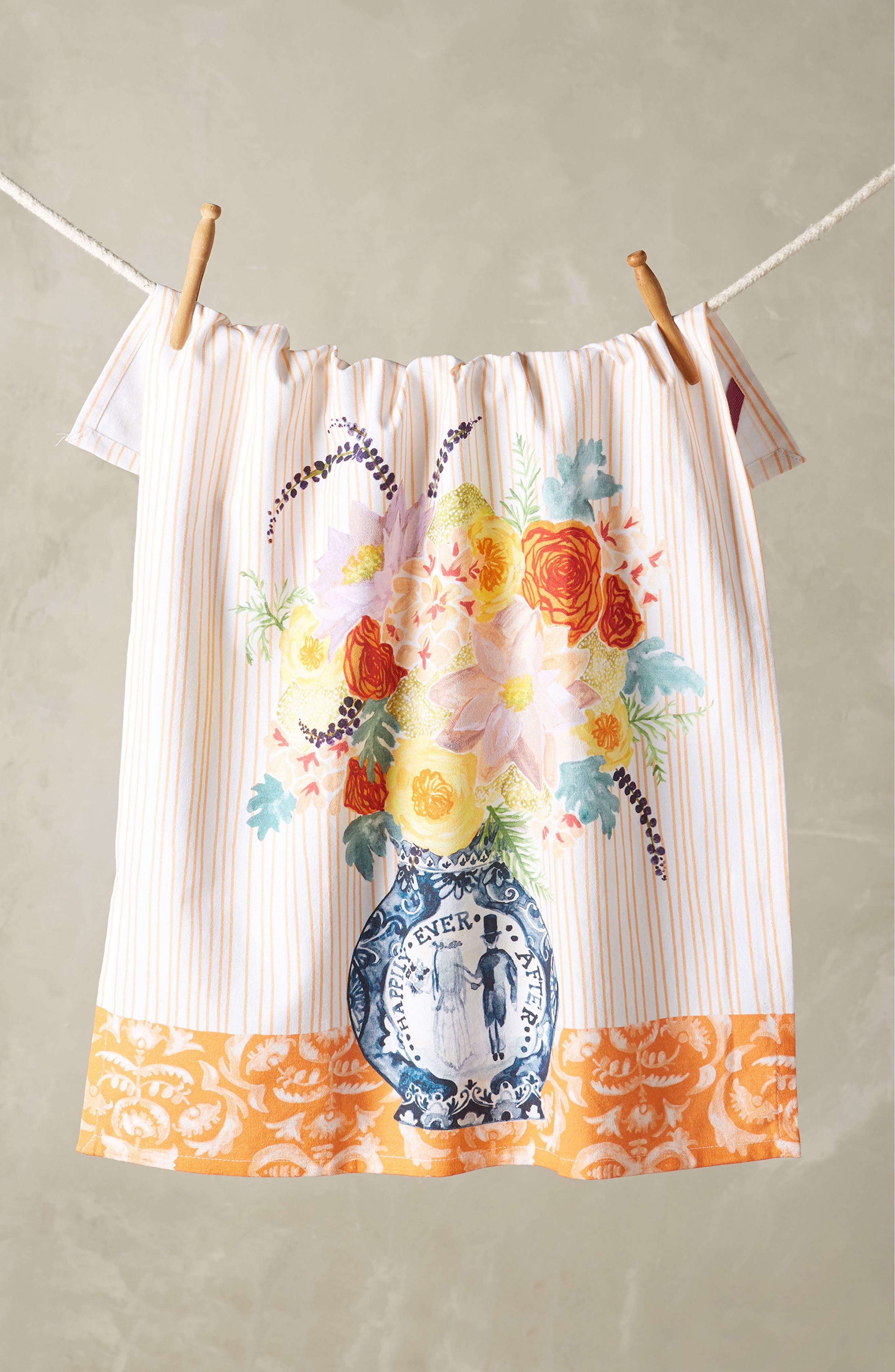 Post-Impressionism Tea Towel,                             Main thumbnail 1, color,                             Coral