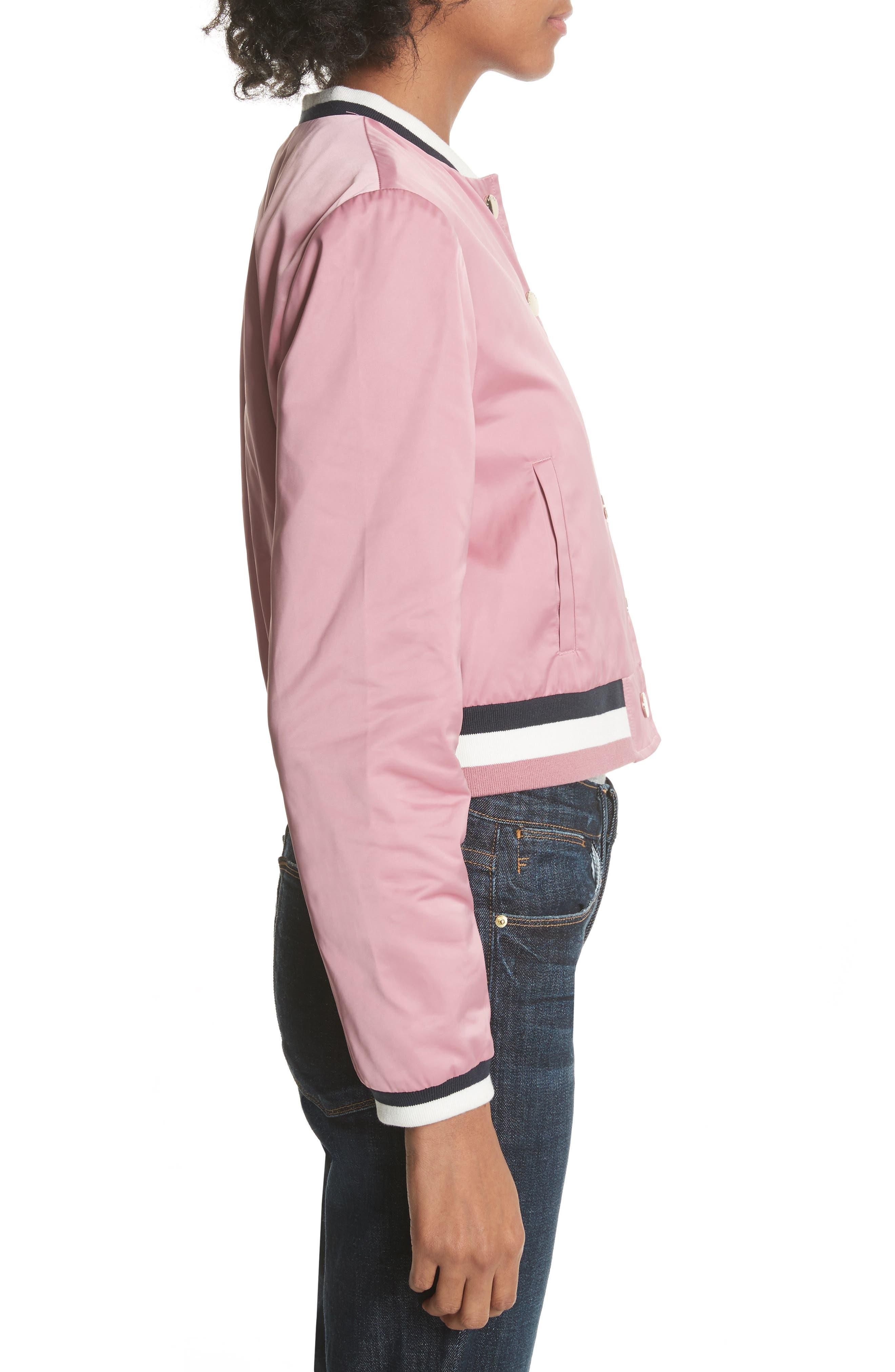 Colour by Numbers Bomber Jacket,                             Alternate thumbnail 4, color,                             Dusky Pink