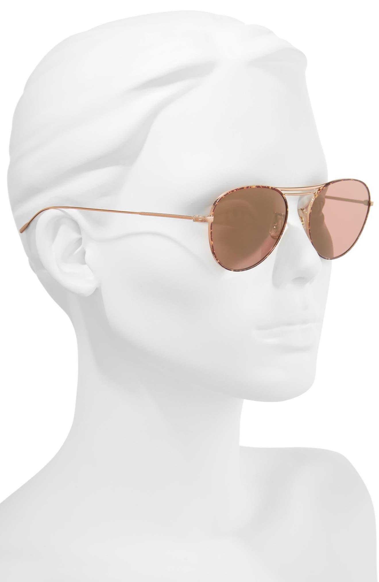 Cade 52mm Mirror Lens Aviator Sunglasses,                             Alternate thumbnail 3, color,                             Burgundy