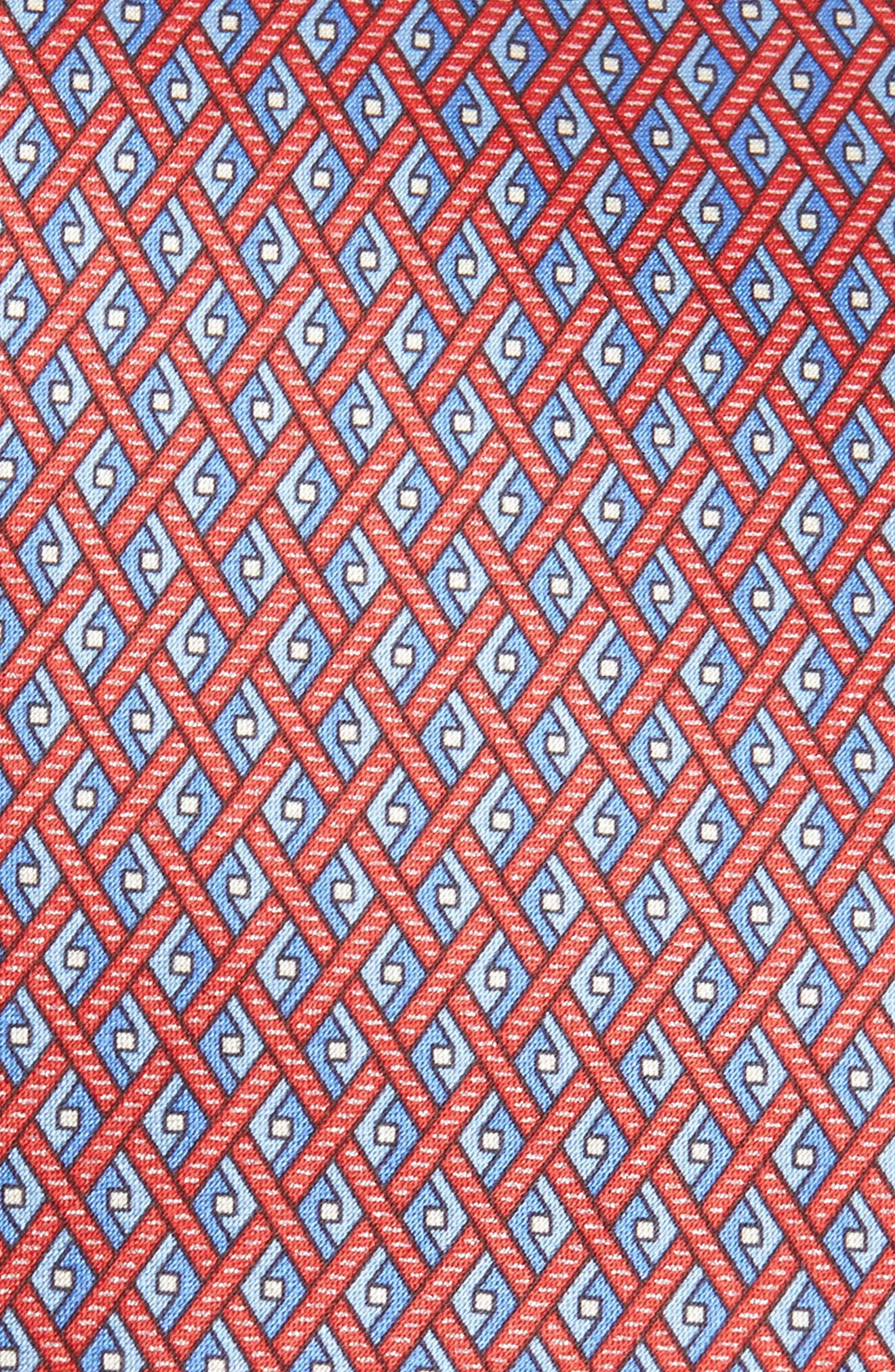 Geometric Silk Tie,                             Alternate thumbnail 2, color,                             Red