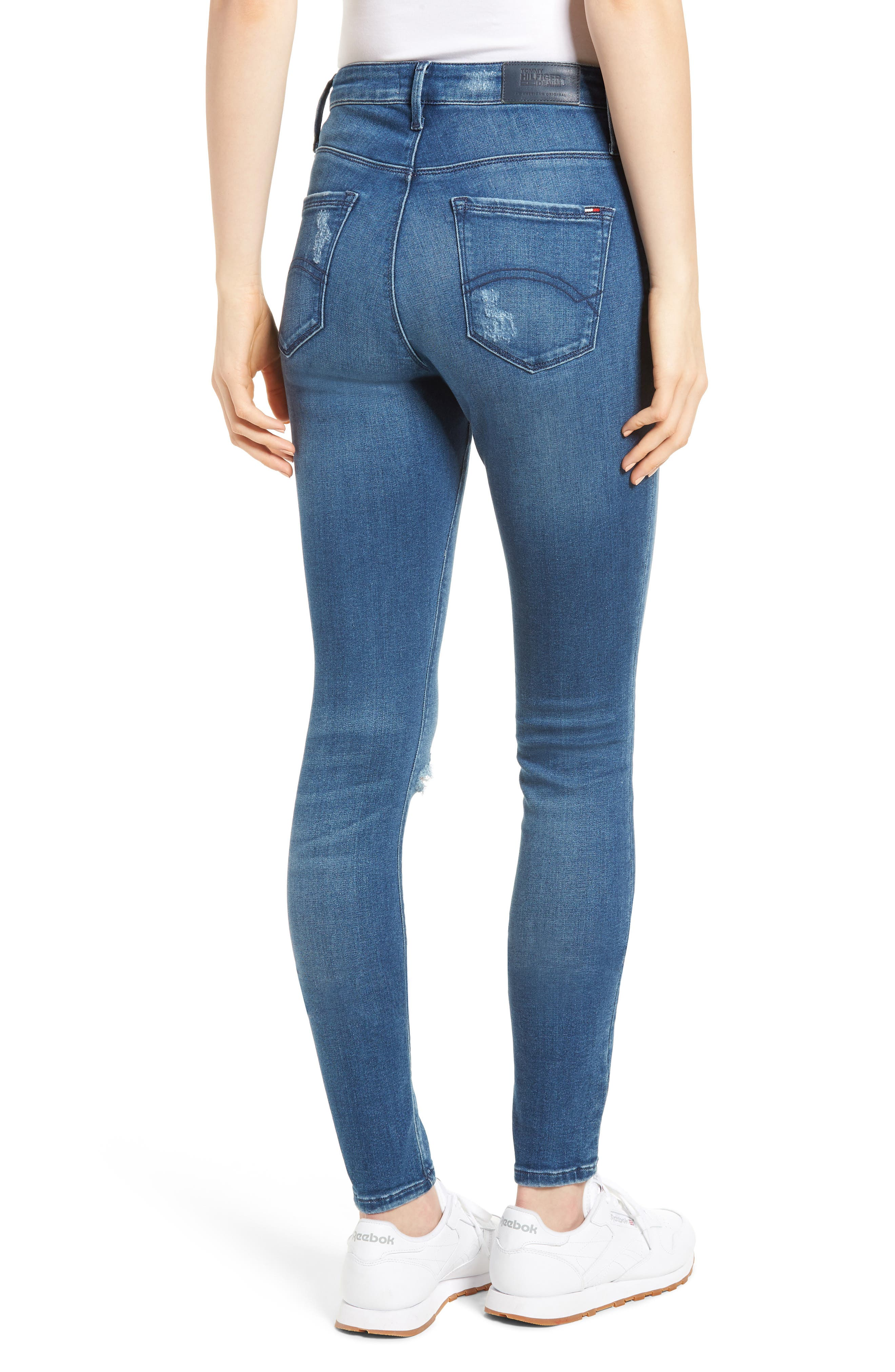 Santana Ripped Skinny Jeans,                             Alternate thumbnail 2, color,                             Fargo Blue Stretch Destructed