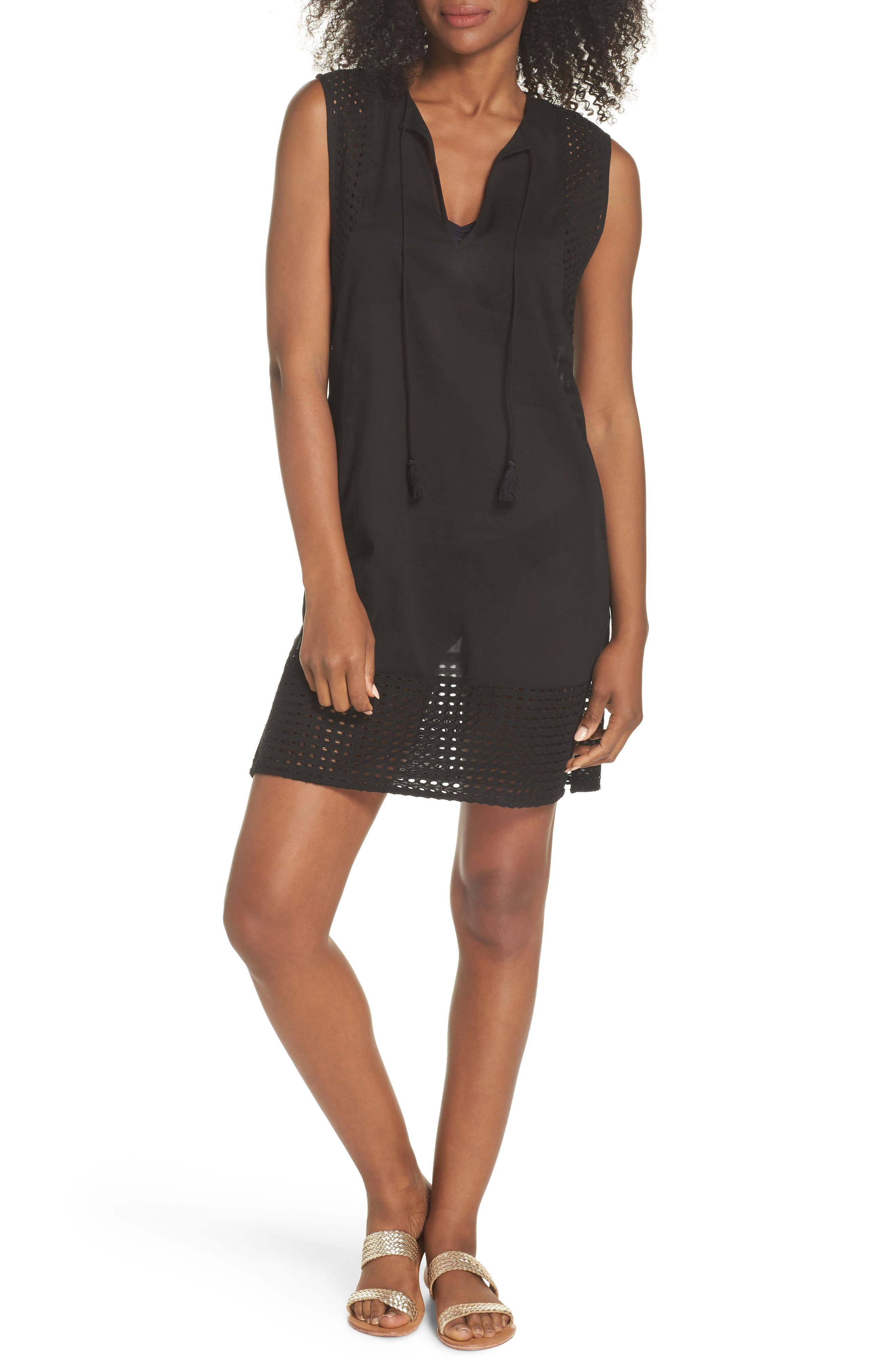 Eyelet Trim Cover-Up Tunic,                         Main,                         color, Black