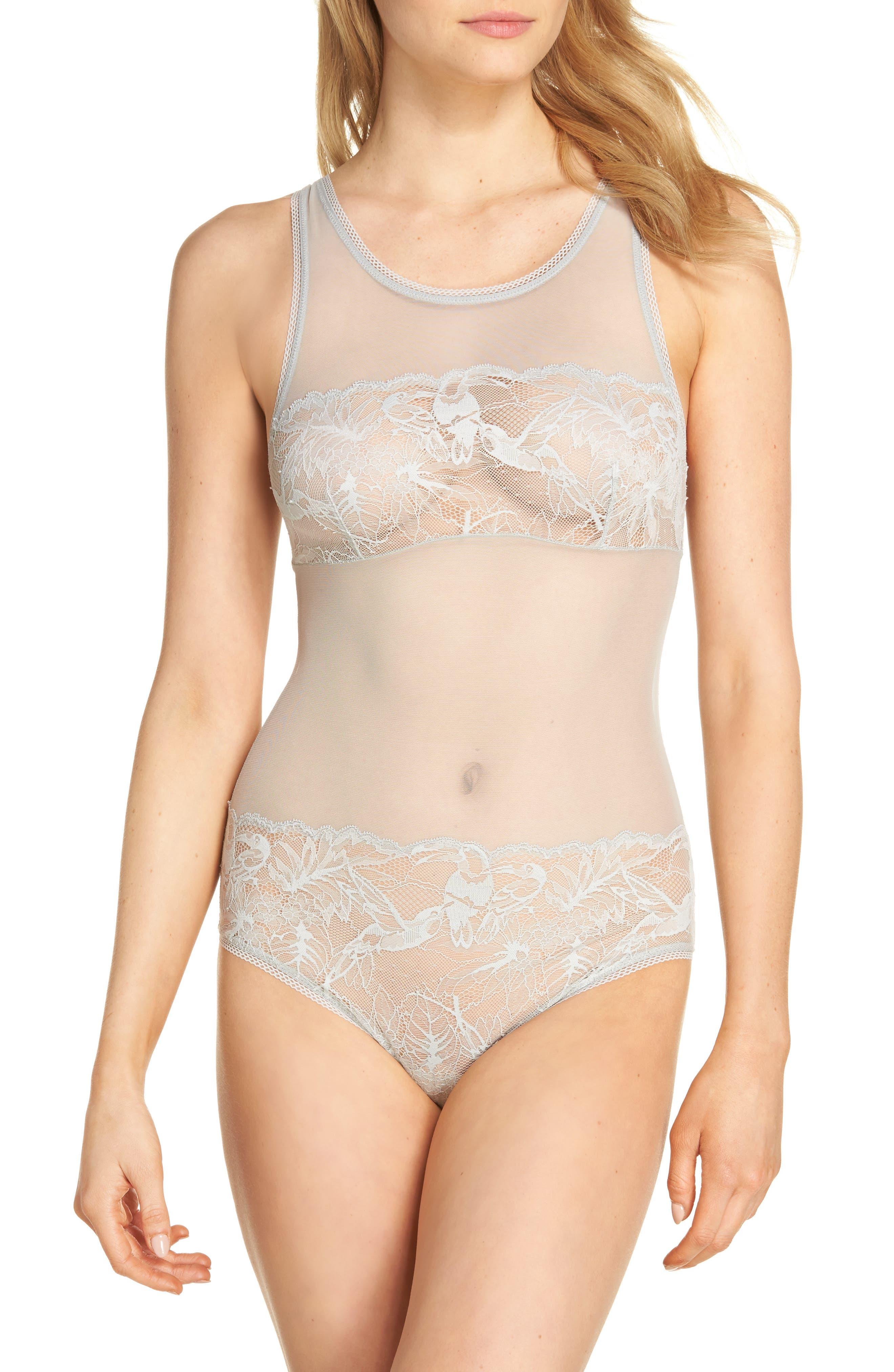 Alternate Image 1 Selected - Calvin Klein Bird Lace Bodysuit