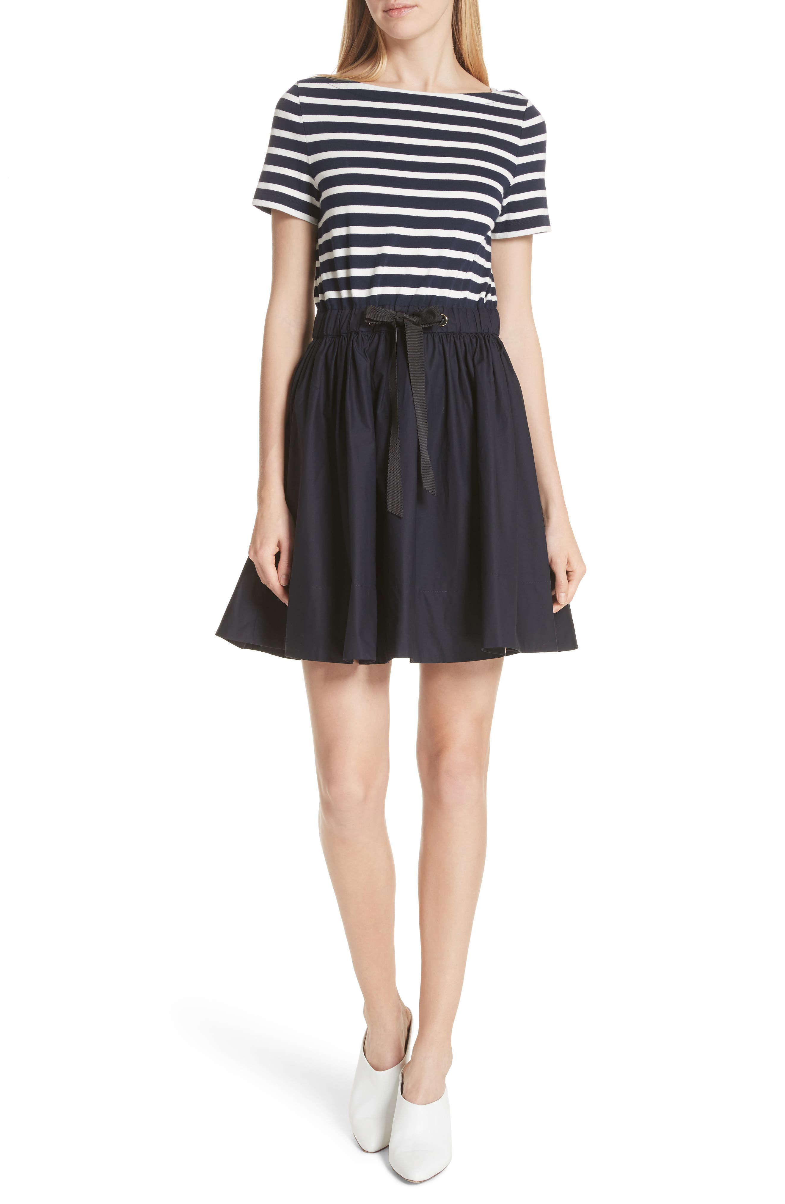 mixed media fit & flare dress,                             Main thumbnail 1, color,                             Rich Navy/ Off White