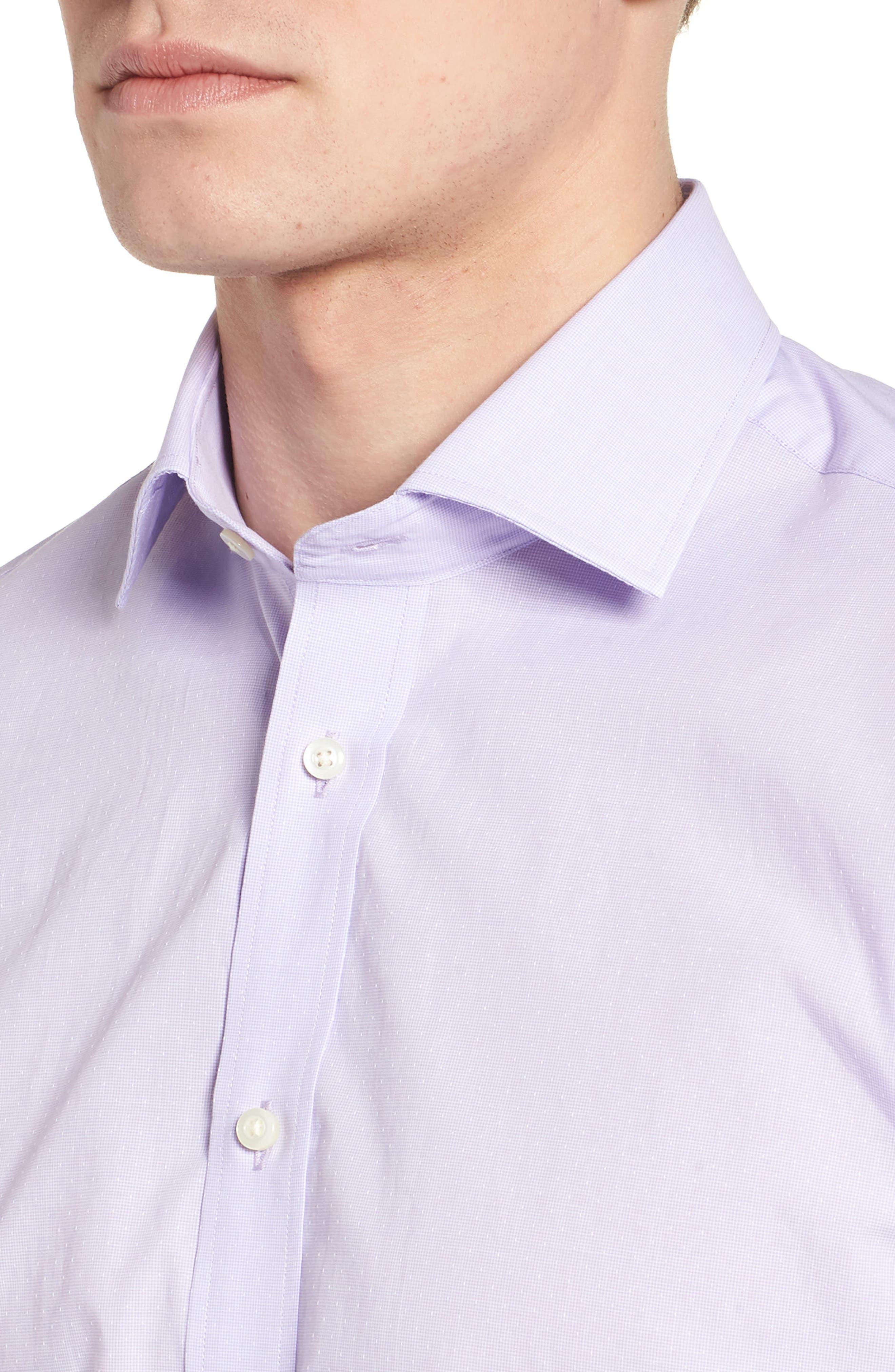 Large Check Sport Shirt,                             Alternate thumbnail 4, color,                             Purple
