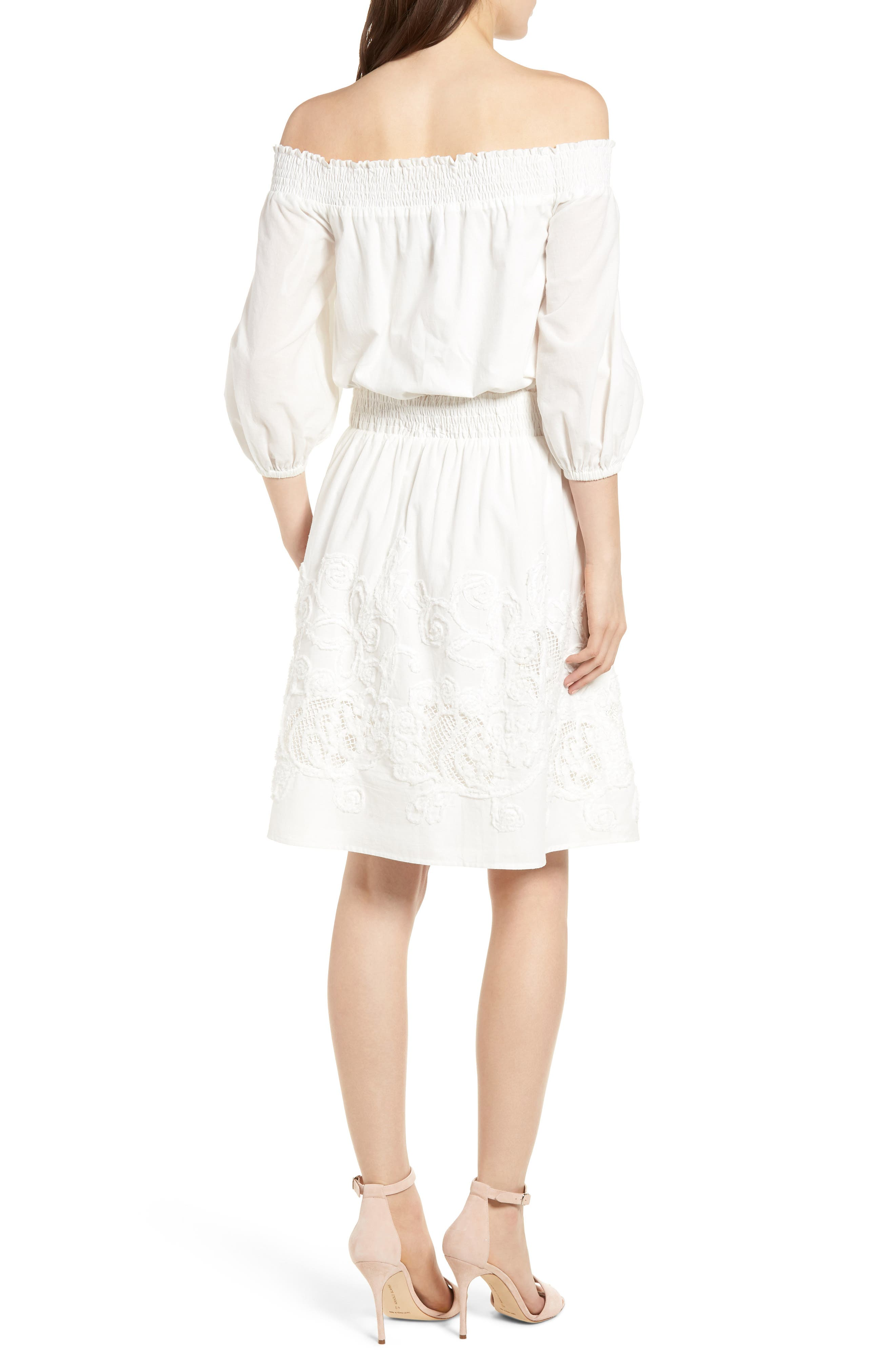 Embroidered Off the Shoulder Blouson Dress,                             Alternate thumbnail 2, color,                             White Snow