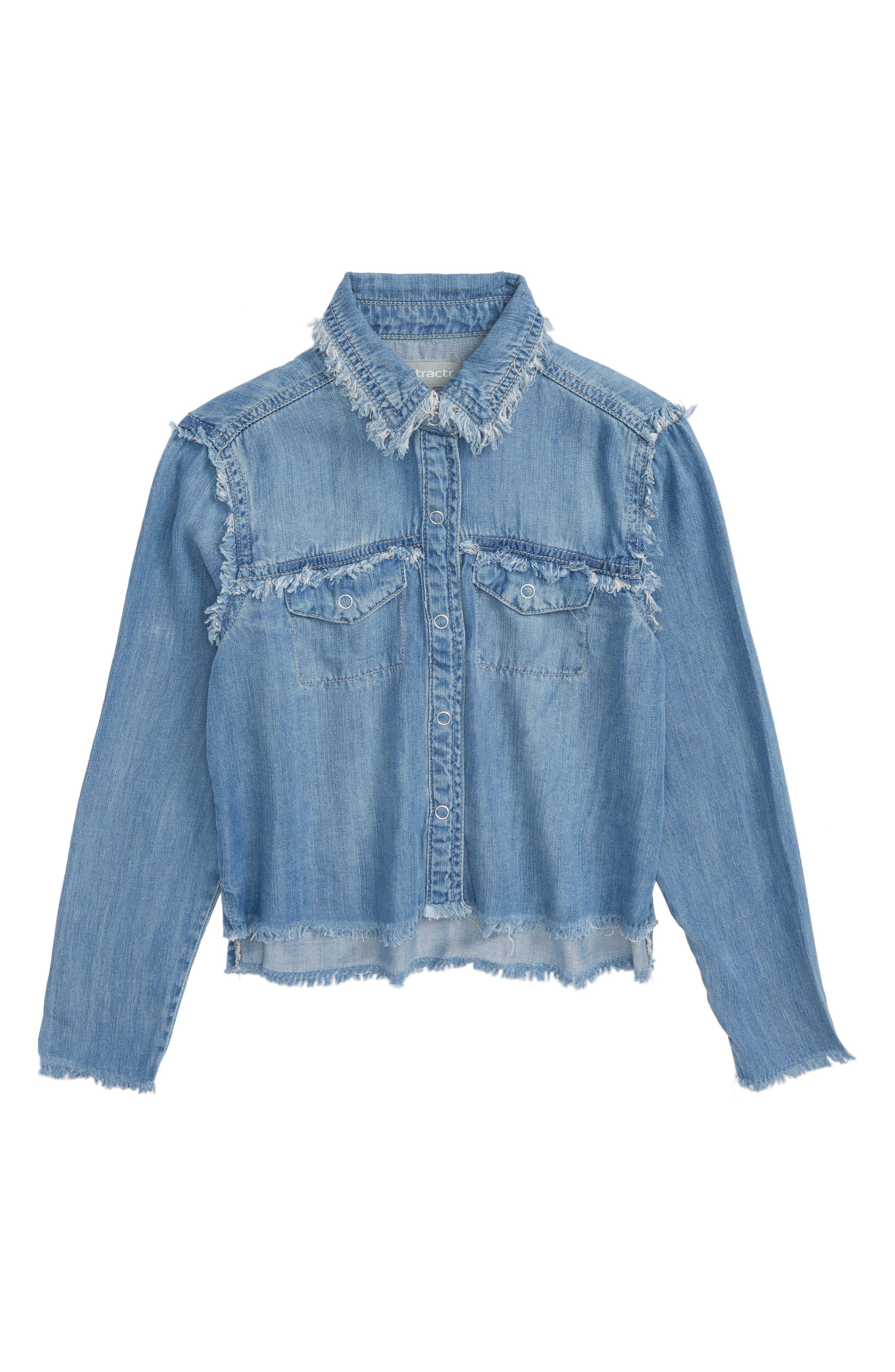 Tractr Frayed Chambray Shirt (Big Girls)