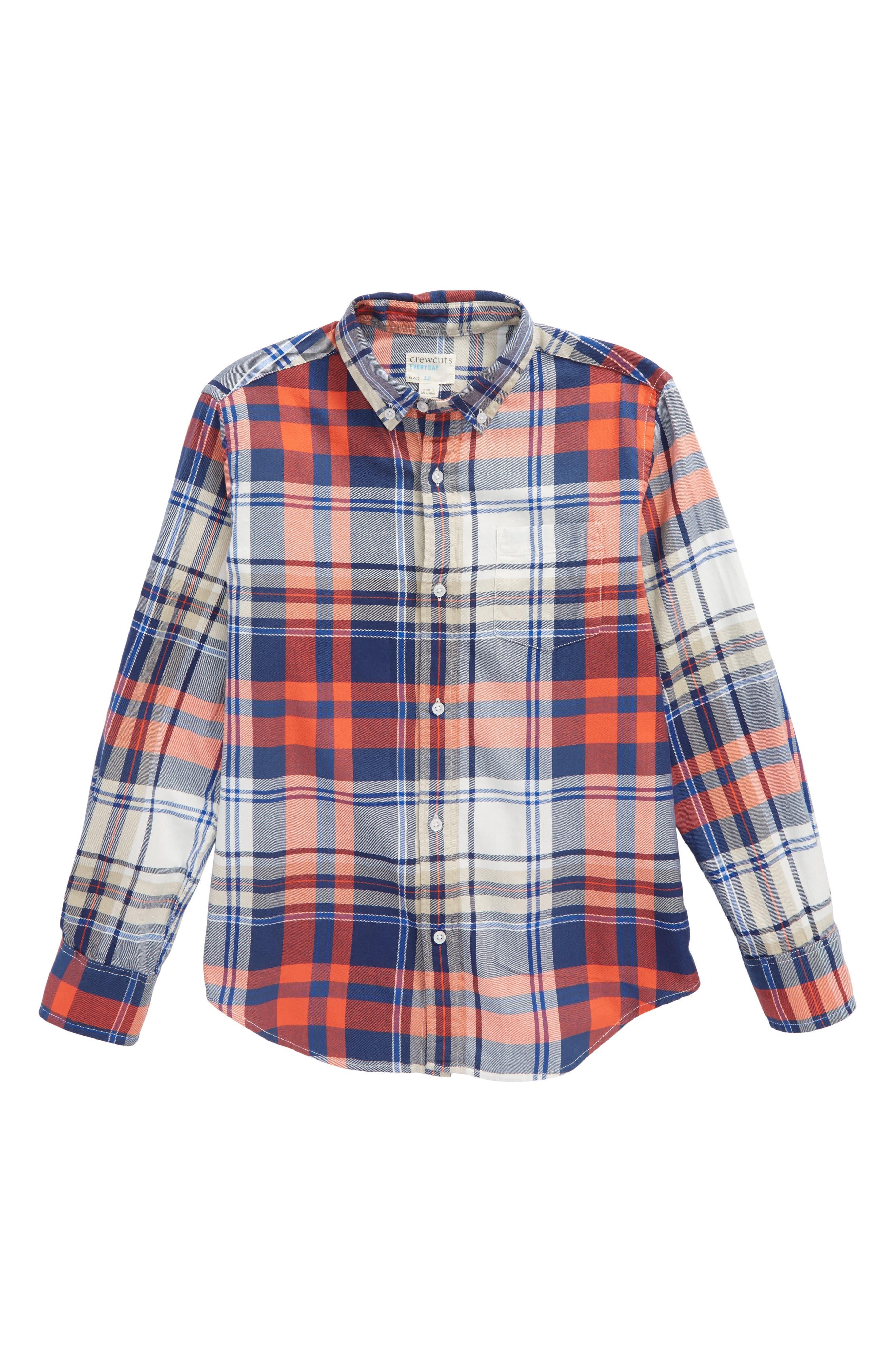 Benny Plaid Woven Shirt,                             Main thumbnail 1, color,                             Poppy Multi