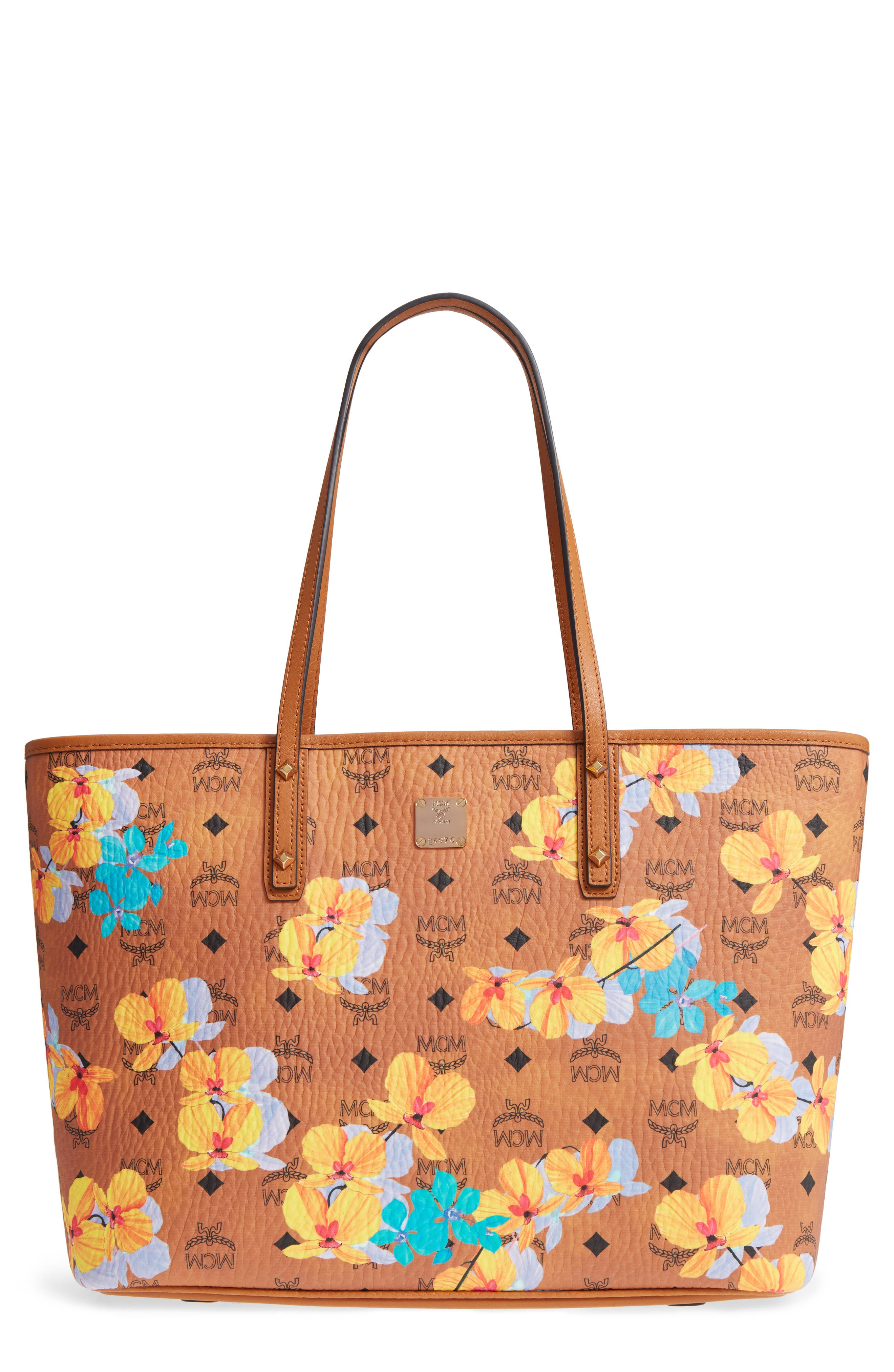 Essentials Floral Print Coated Canvas Shopper,                         Main,                         color, Cognac