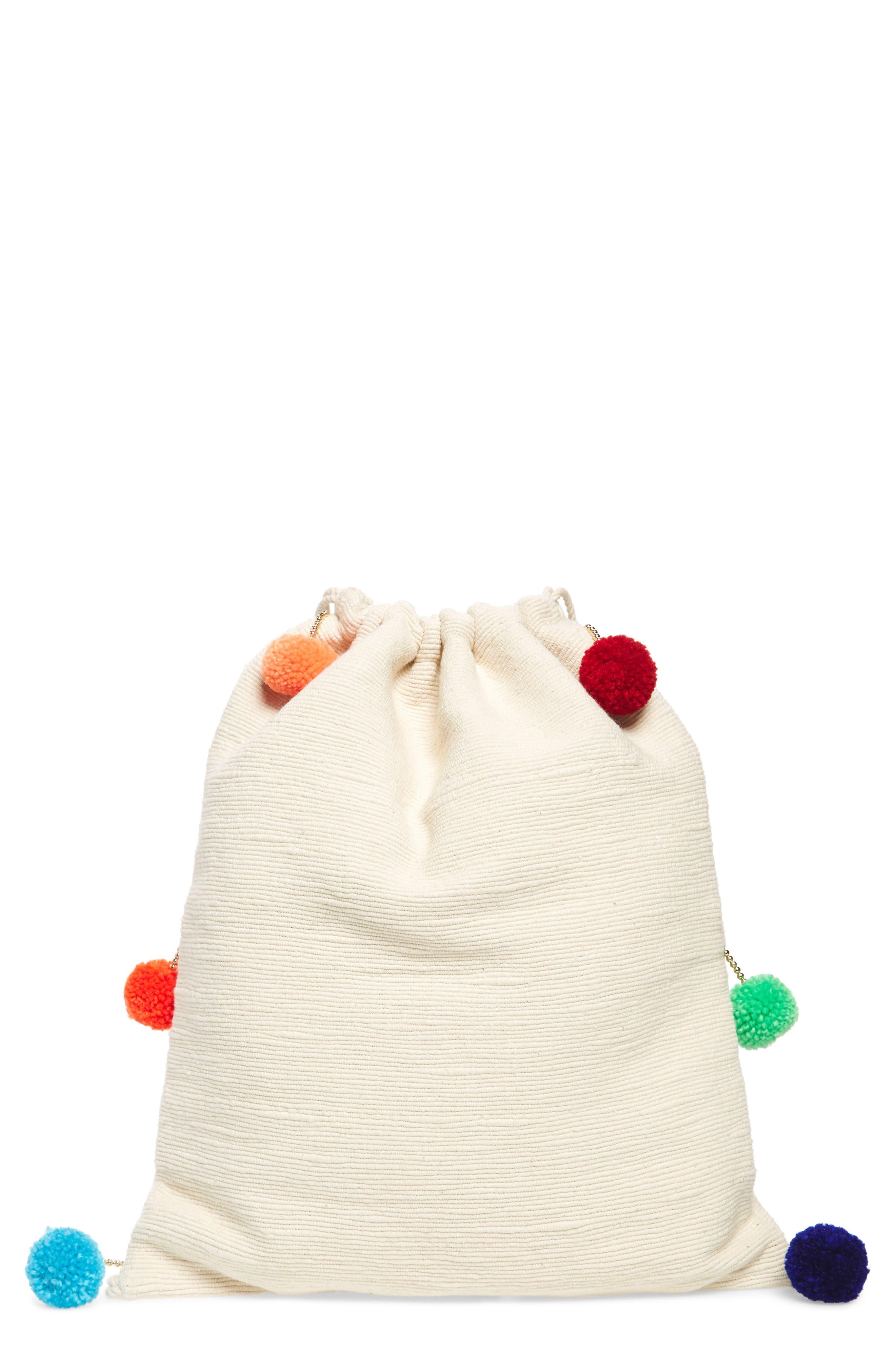 Pompom Drawstring Bag,                         Main,                         color, Caramel