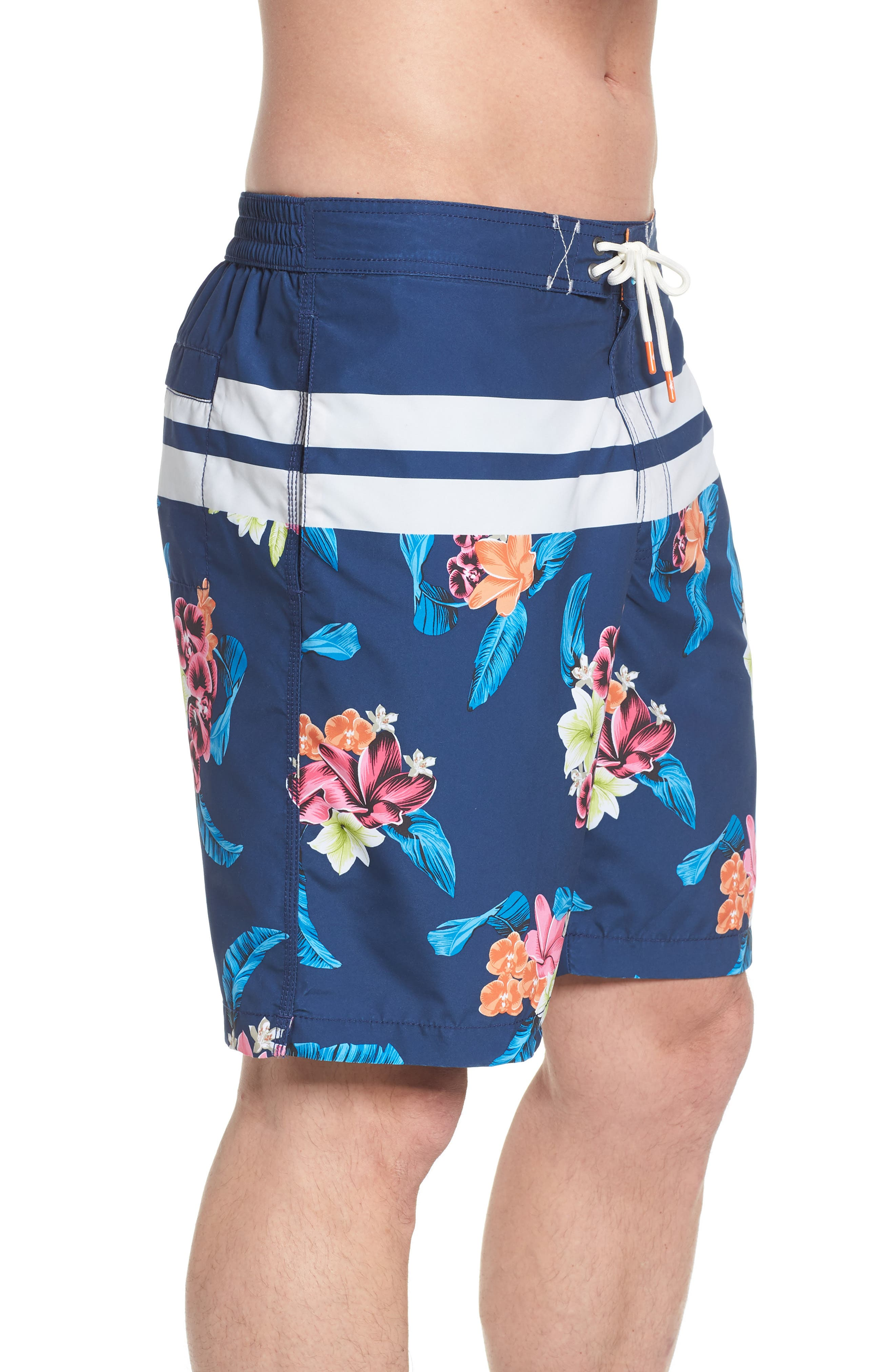 Baja Saltwater Blooms Board Shorts,                             Alternate thumbnail 3, color,                             Throne Blue